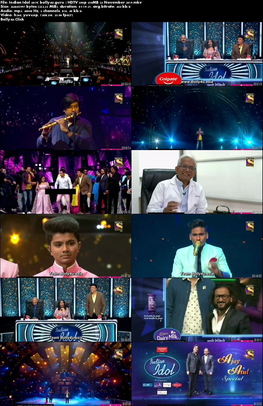 Indian Idol 2019 HDTV 480p 250MB 23 November 2019 Download