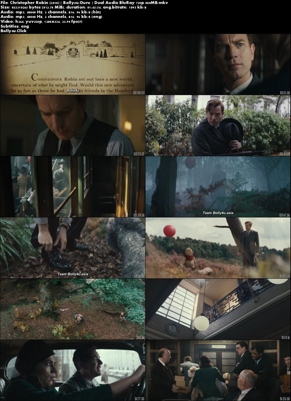 Christopher Robin 2018 BluRay 800MB Hindi Dual Audio 720p Download