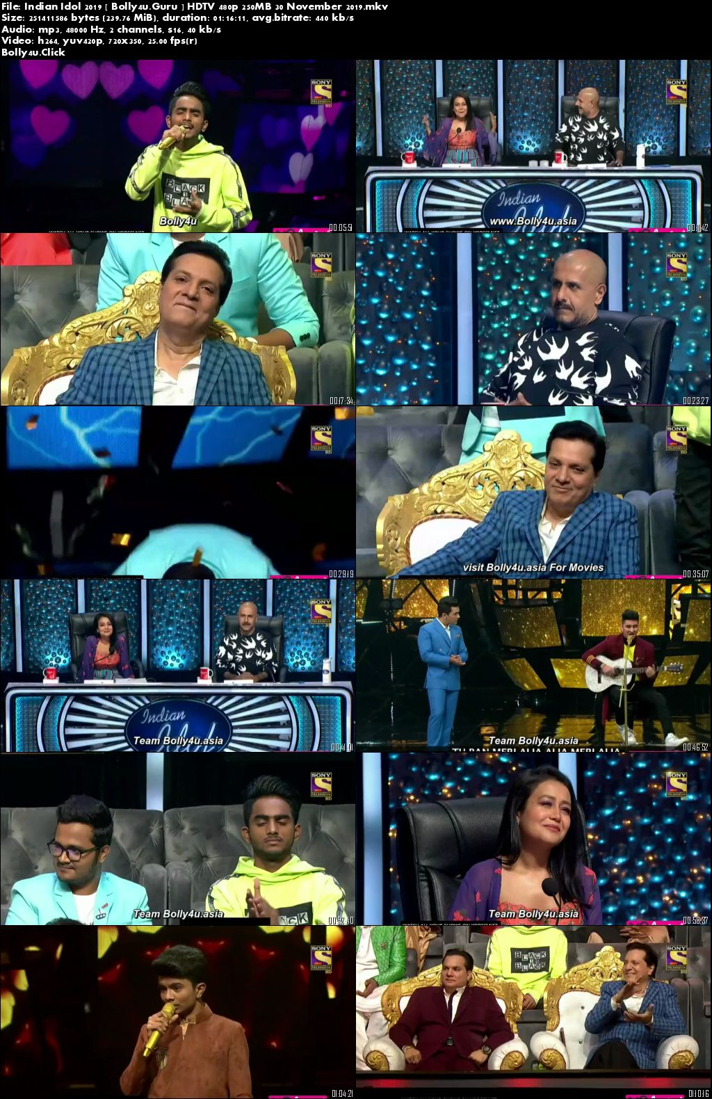 Indian Idol 2019 HDTV 480p 250MB 30 November 2019 Download