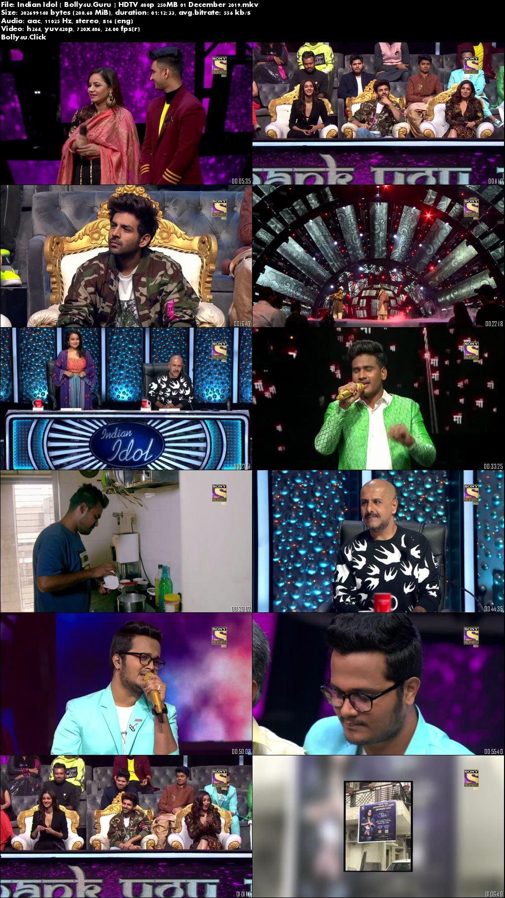 Indian Idol 2019 HDTV 480p 250MB 01 December 2019 Download