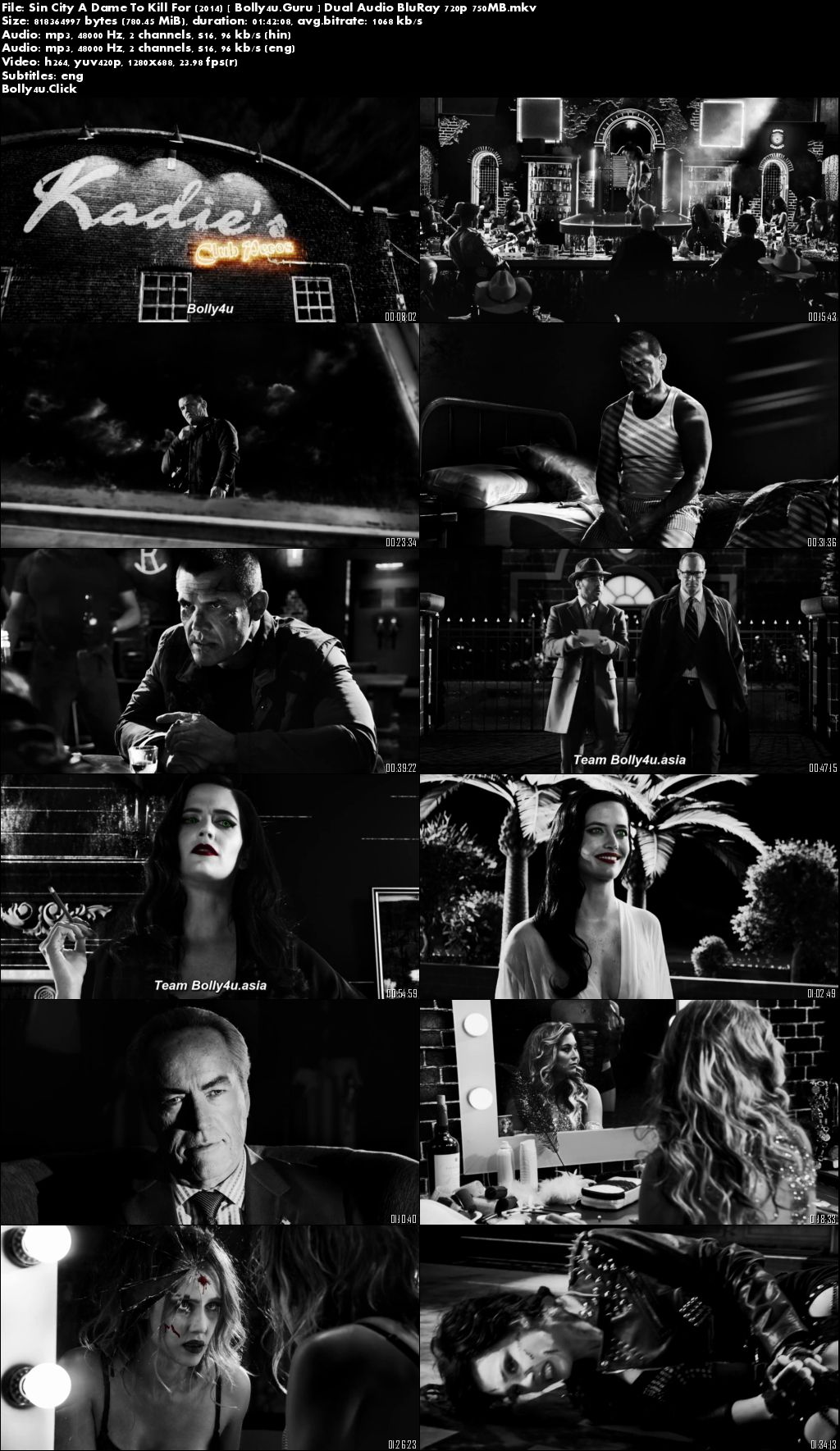 Sin City A Dame To Kill For 2014 BluRay 300MB Hindi Dual Audio 480p Download