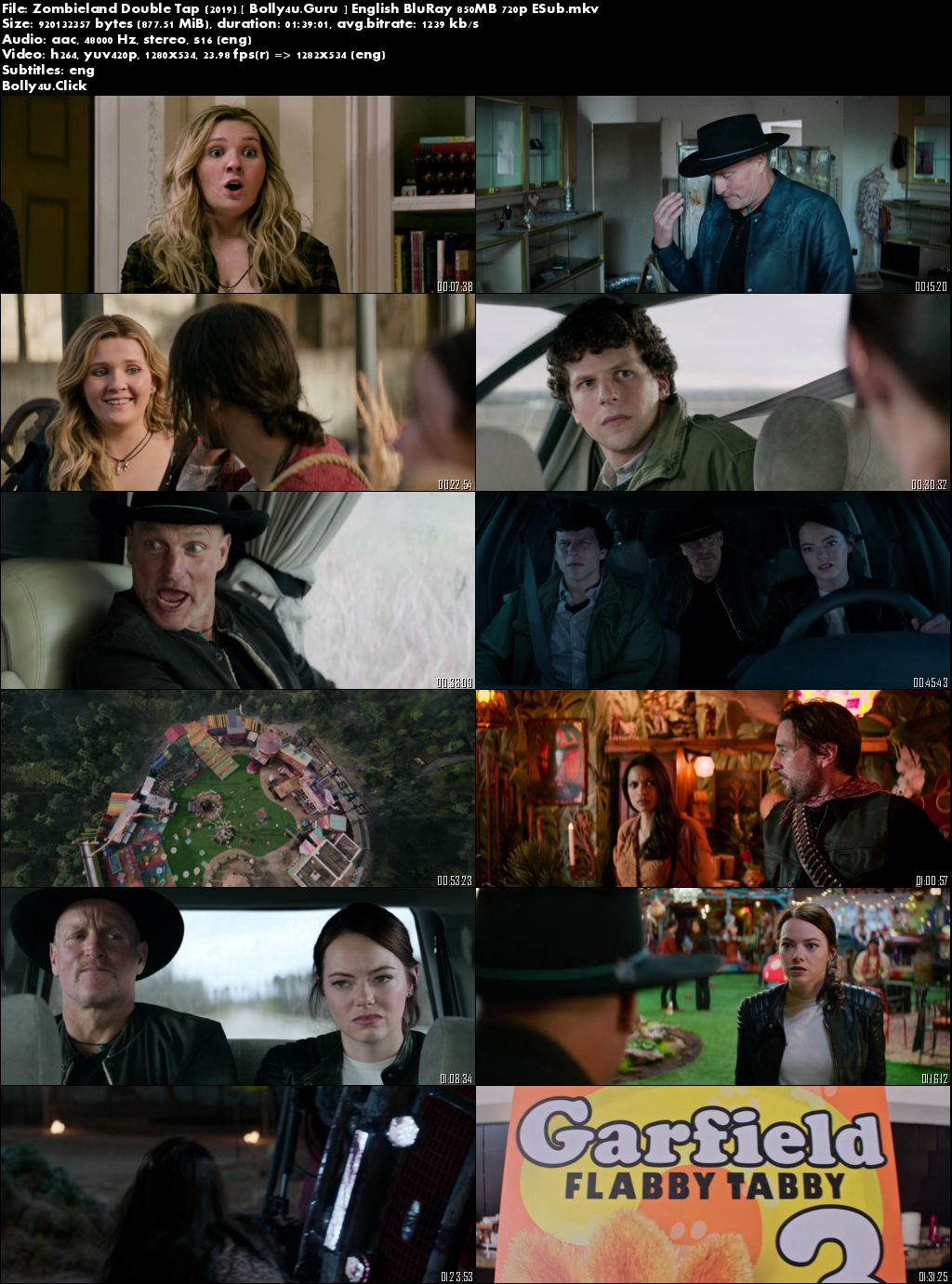 Zombieland Double Tap 2019 BRRip 850Mb English 720p ESub download