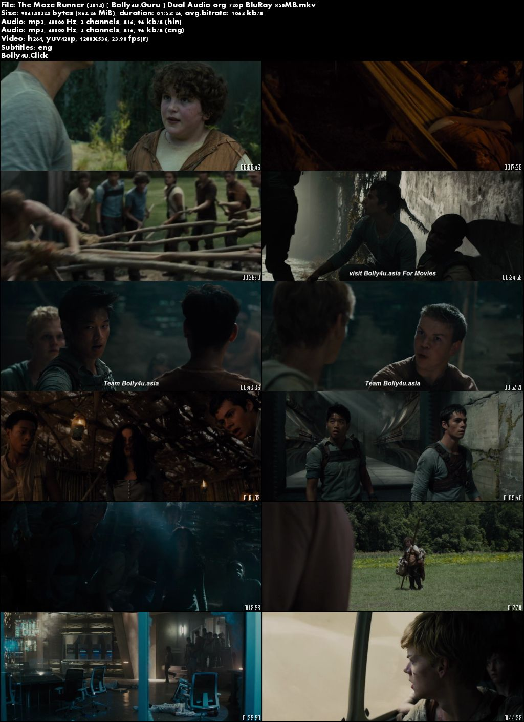 The Maze Runner 2014 Hindi ORG 720p 700Mb BluRay Dual Audio Download Download