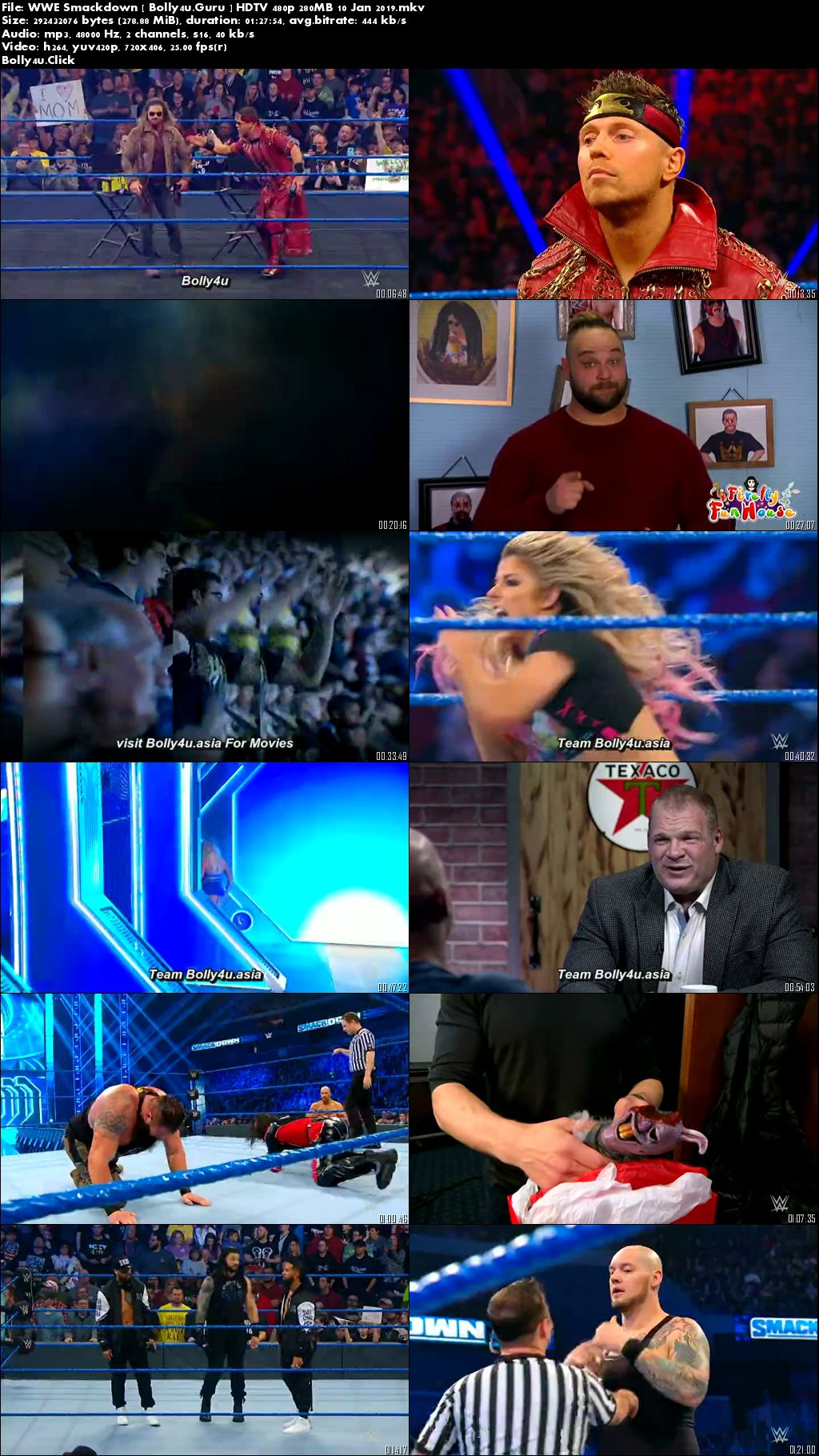 WWE Friday Night Smackdown HDTV 480p 280MB 10 Jan 2020 download