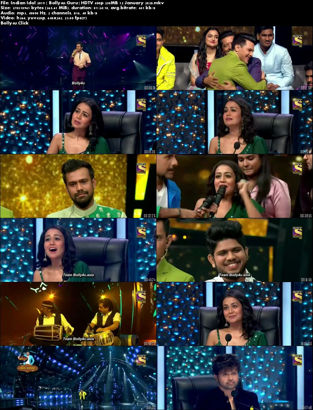 Indian Idol 2019 HDTV 480p 250MB 12 January 2020 Download