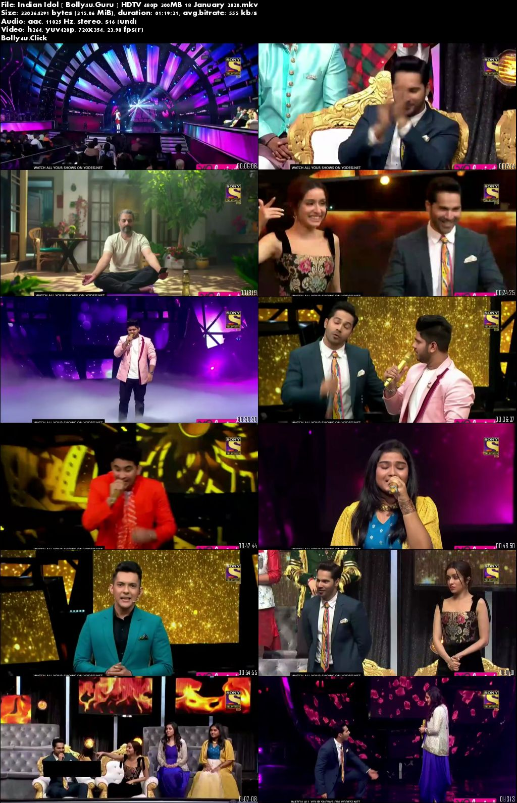 Indian Idol 2019 HDTV 480p 300MB 18 January 2020