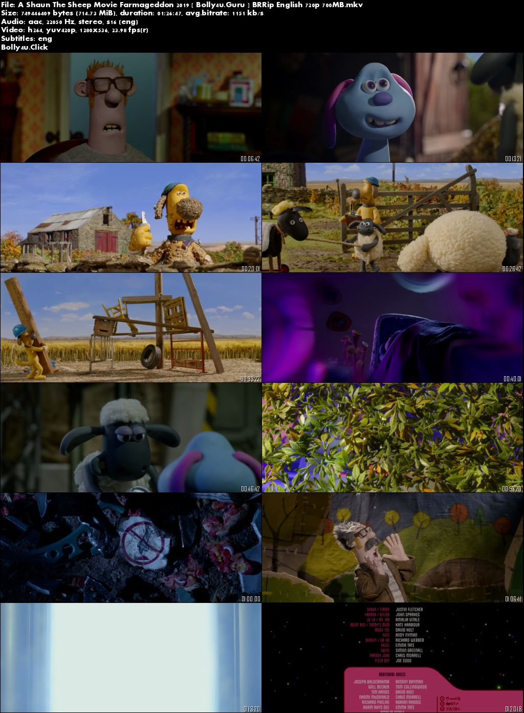 A Shaun The Sheep Movie Farmageddon 2019 BRRip 250Mb English 480p ESub download