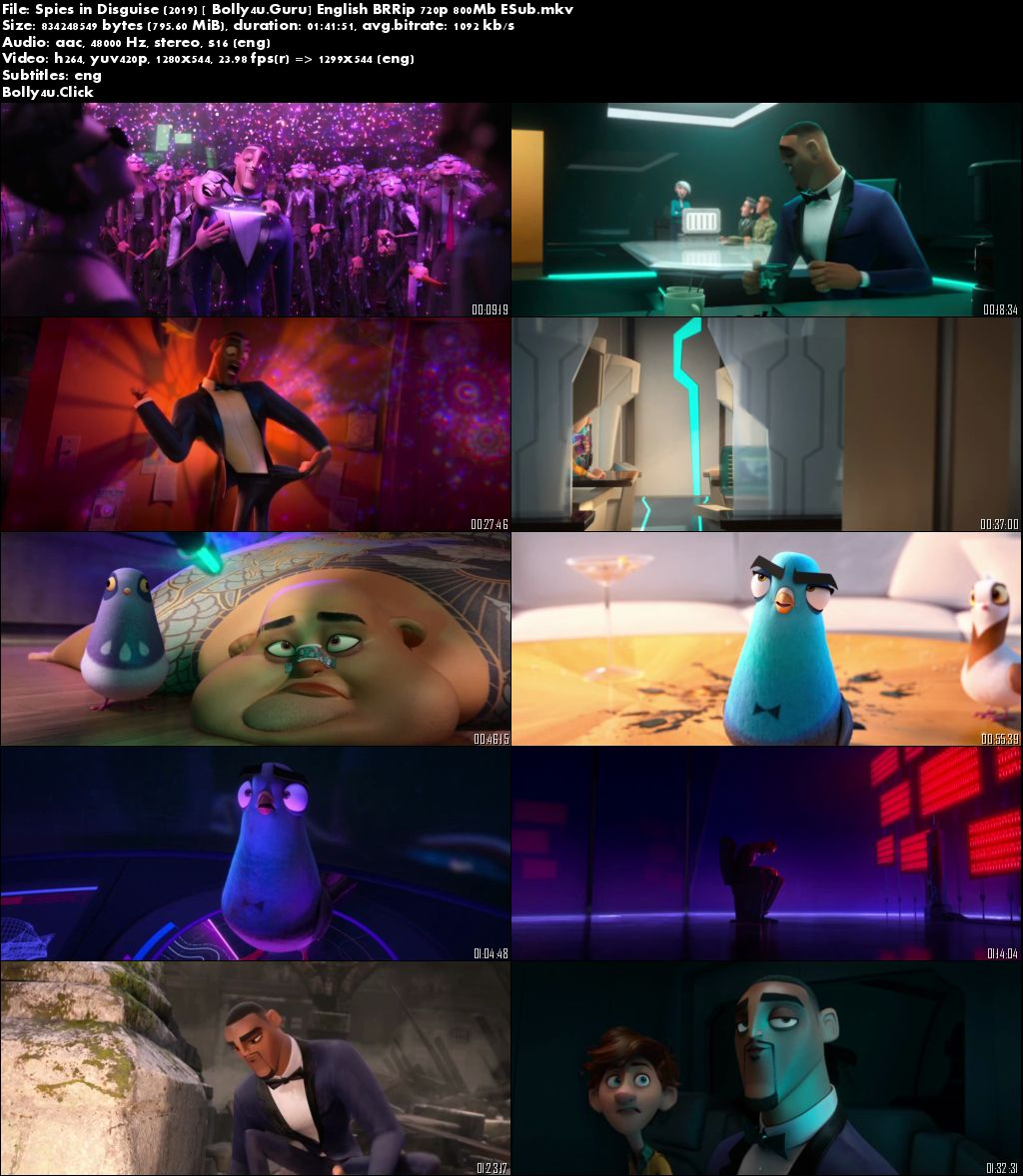 Spies in Disguise 2019 BRRip 800MB English 720p ESub Download