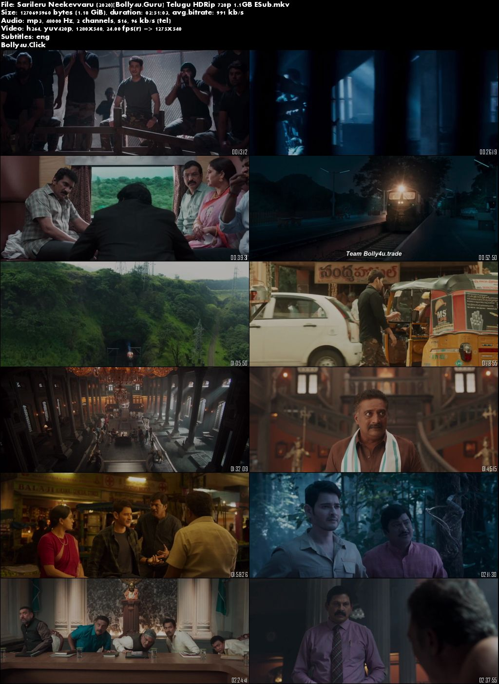 Sarileru Neekevvaru 2020 HDRip 500MB Telugu 480p ESub Download