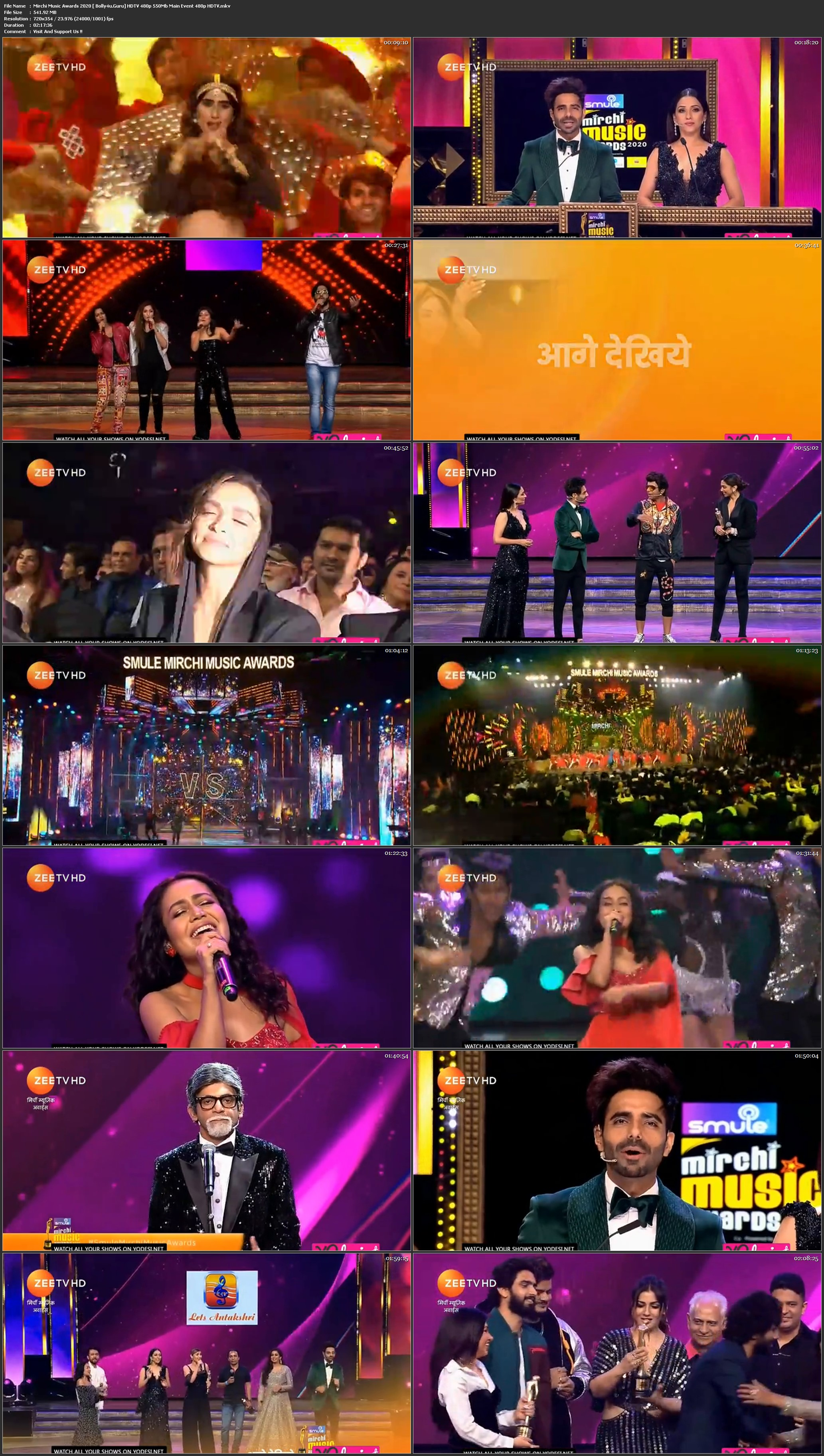 Mirchi Music Awards 2020 HDTV 480p 550Mb Main Event download