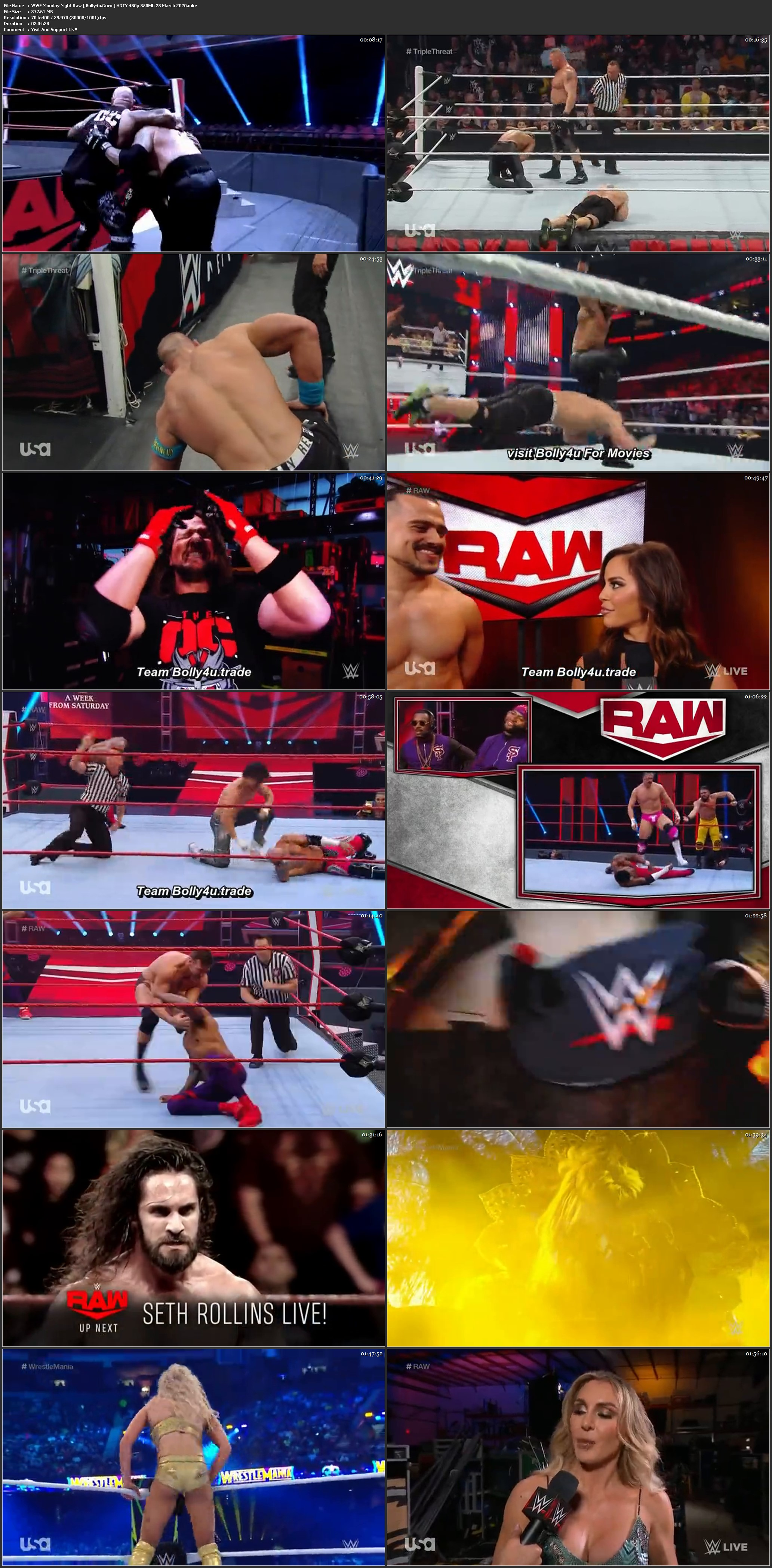 WWE Monday Night Raw HDTV 480p 350Mb 23 March 2020 Download