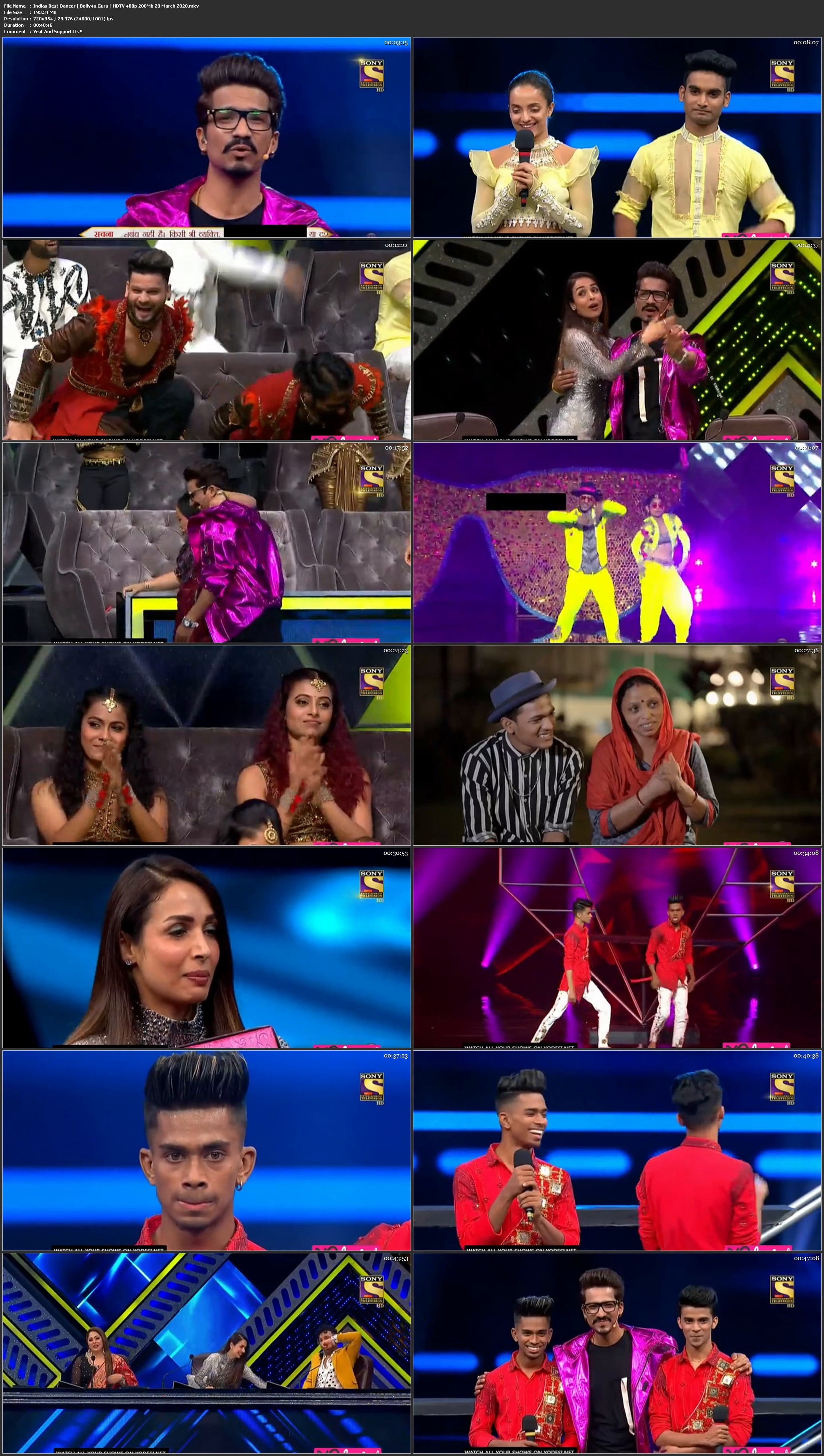 Indias Best Dancer HDTV 480p 200Mb 29 March 2020 Download