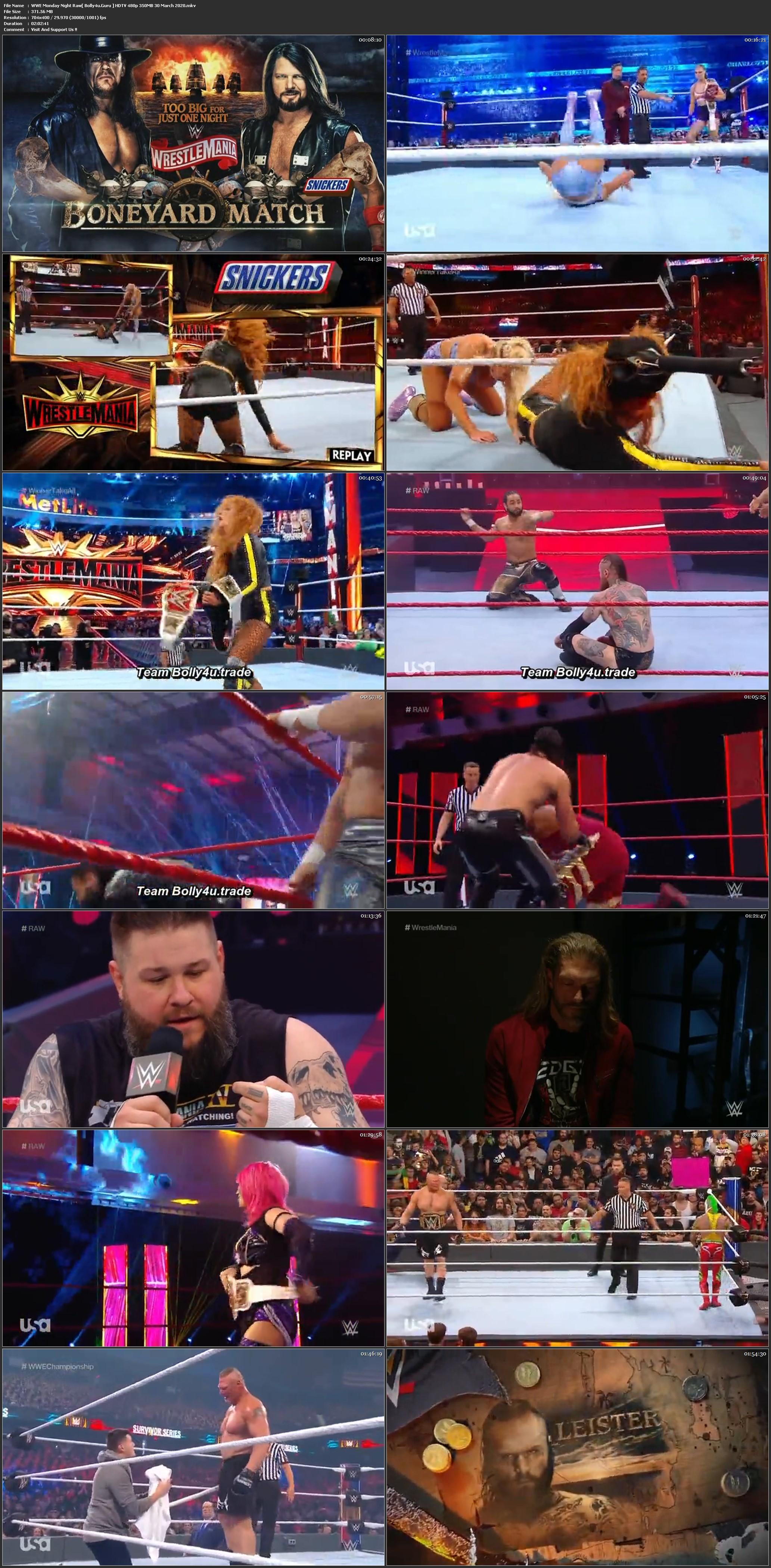 WWE Monday Night Raw HDTV 480p 350MB 30 March 2020 Download
