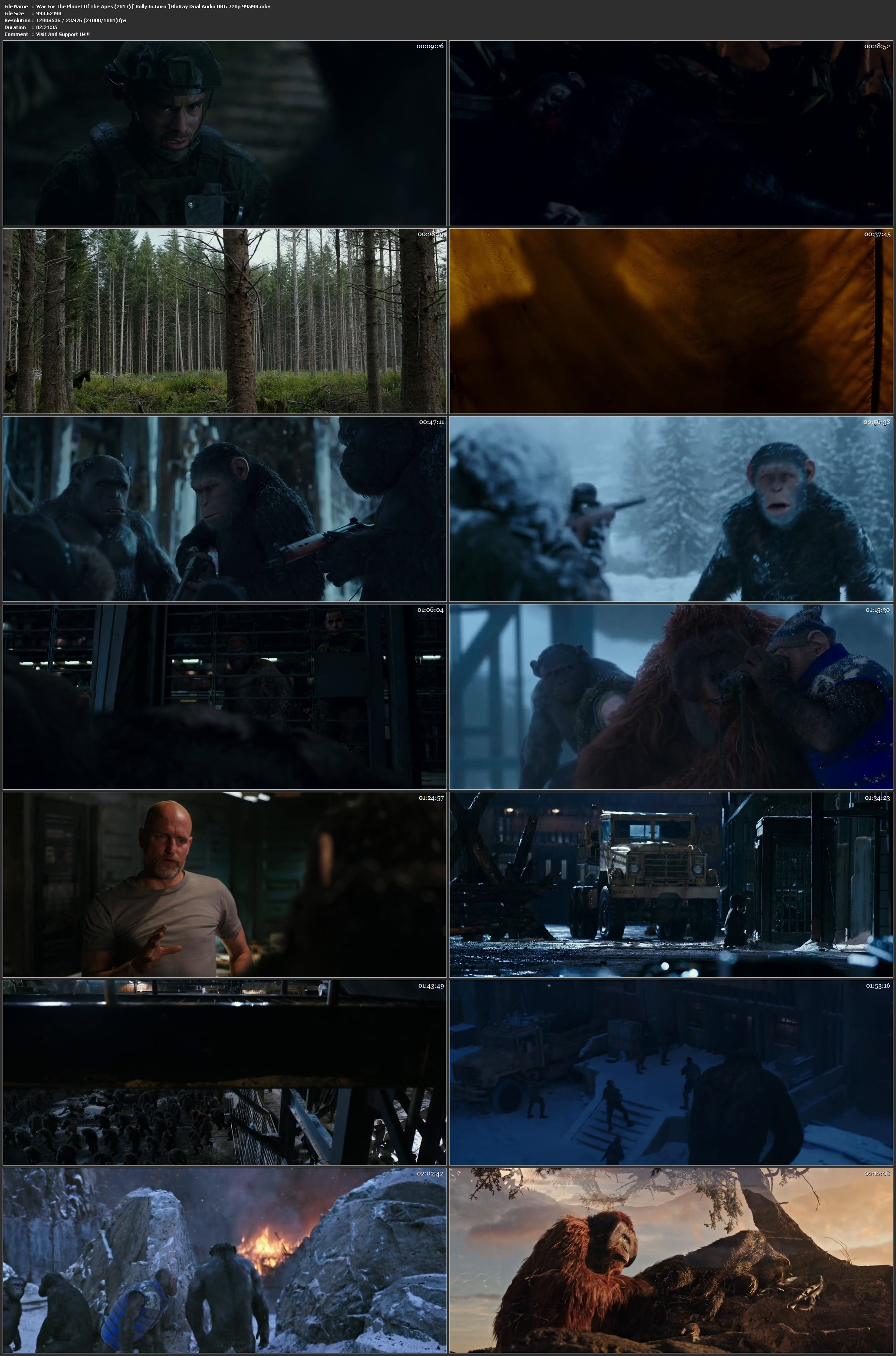 War For The Planet Of The Apes 2017 BRRip 450MB Hindi Dual Audio ORG 480p Download