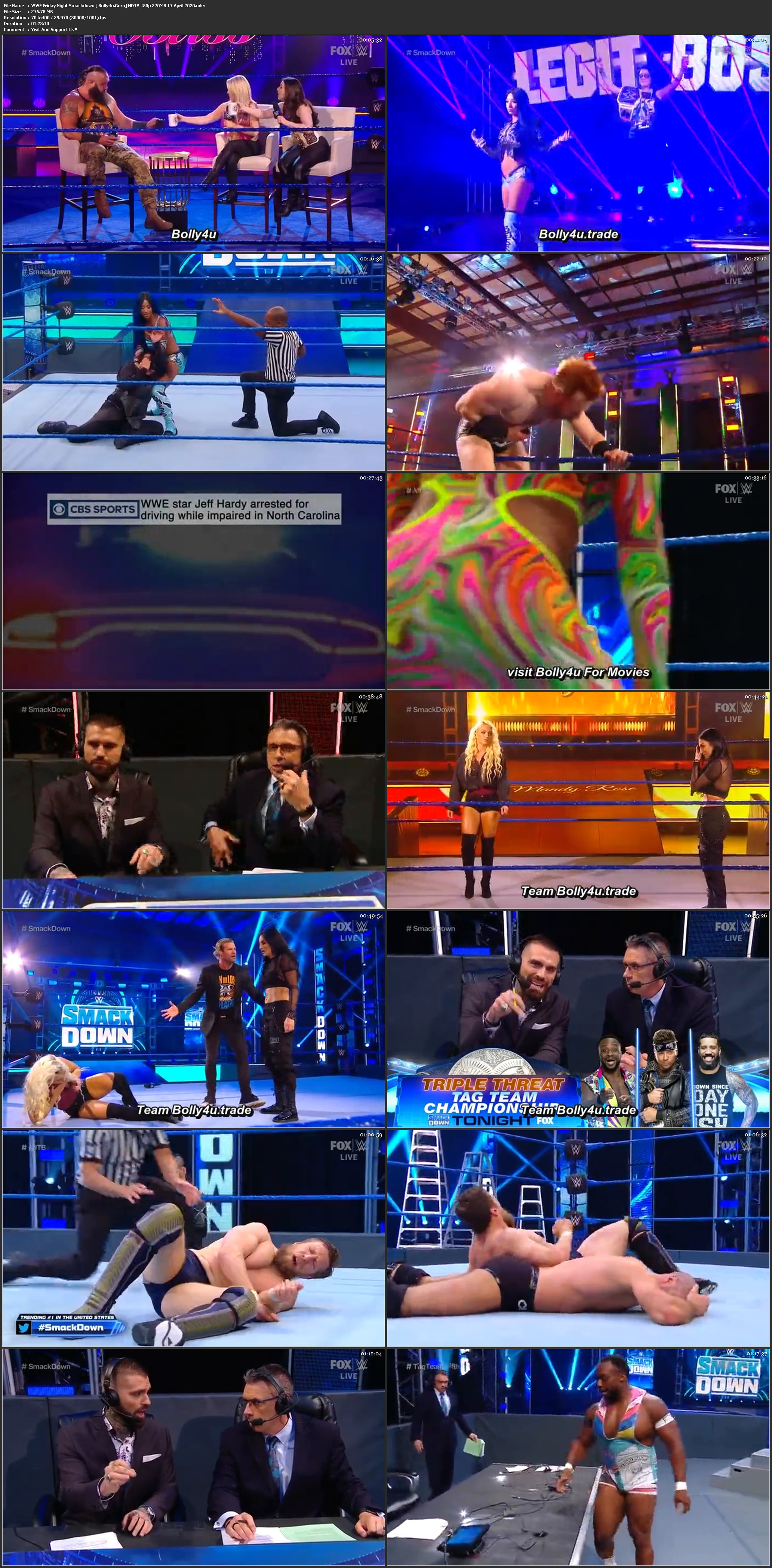 WWE Friday Night Smackdown HDTV 480p 270MB 17 April 2020 Download