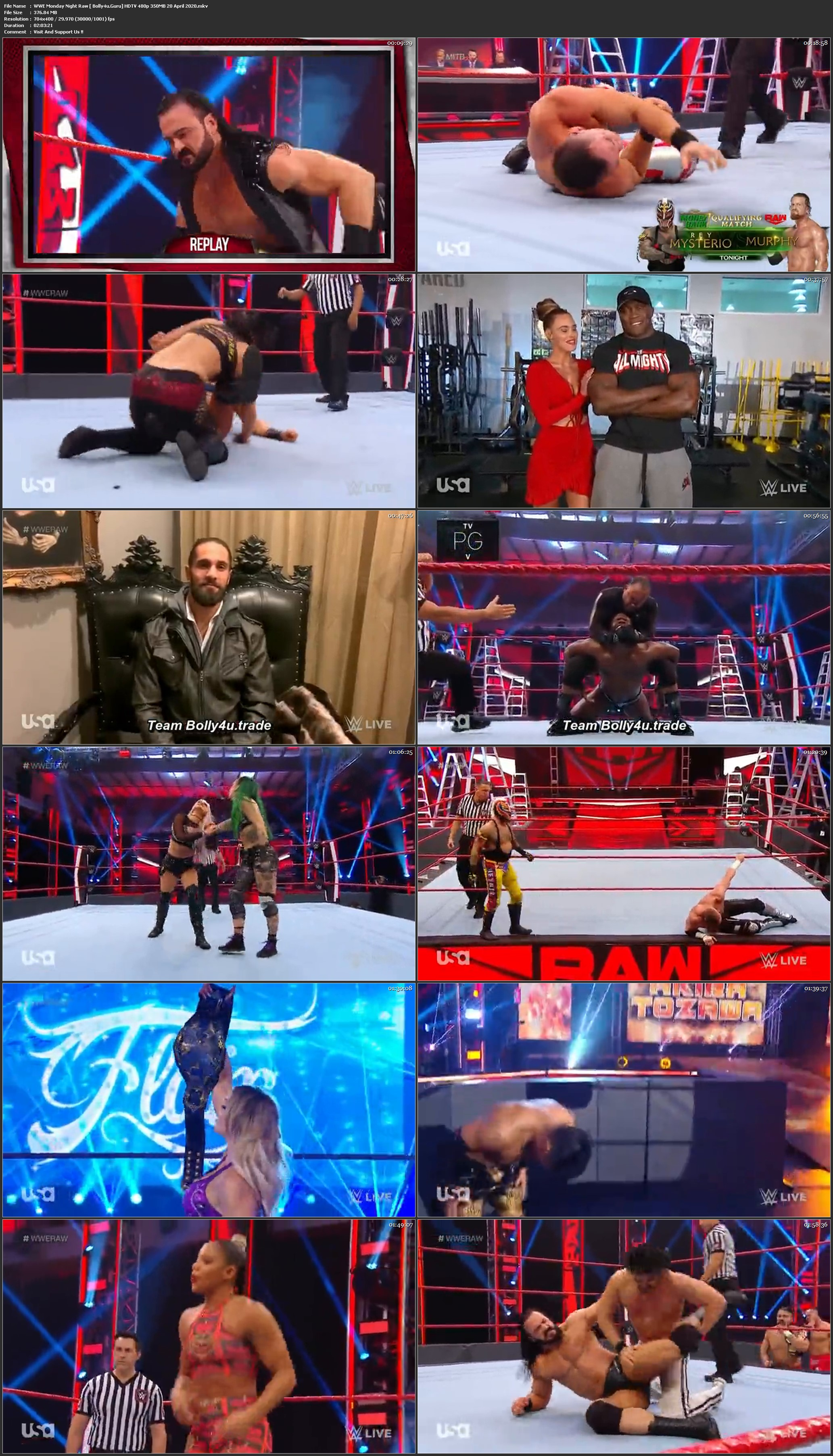 WWE Monday Night Raw HDTV 480p 350MB 20 April 2020 Download