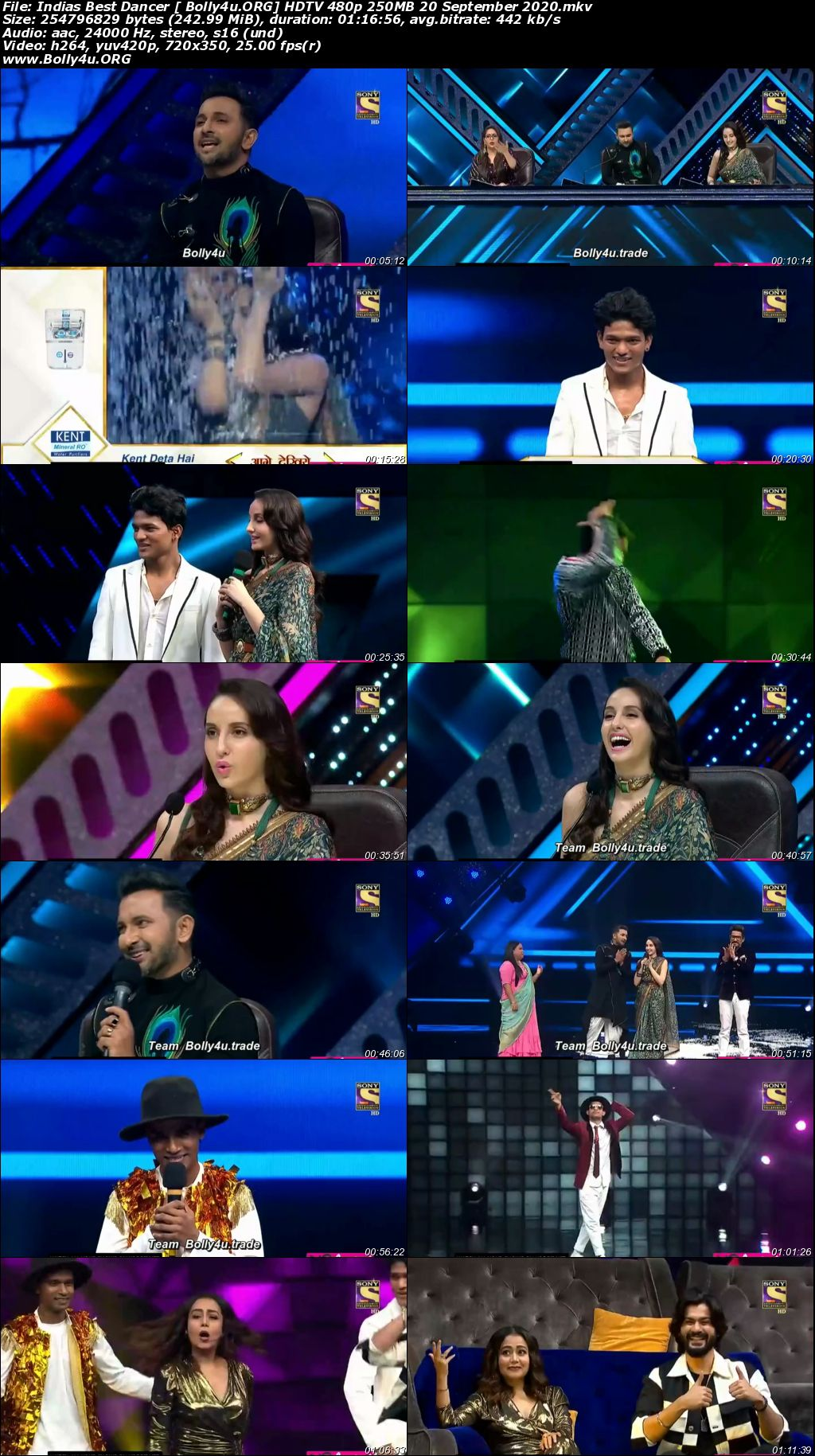 Indias Best Dancer HDTV 480p 250MB 20 September 2020 Download