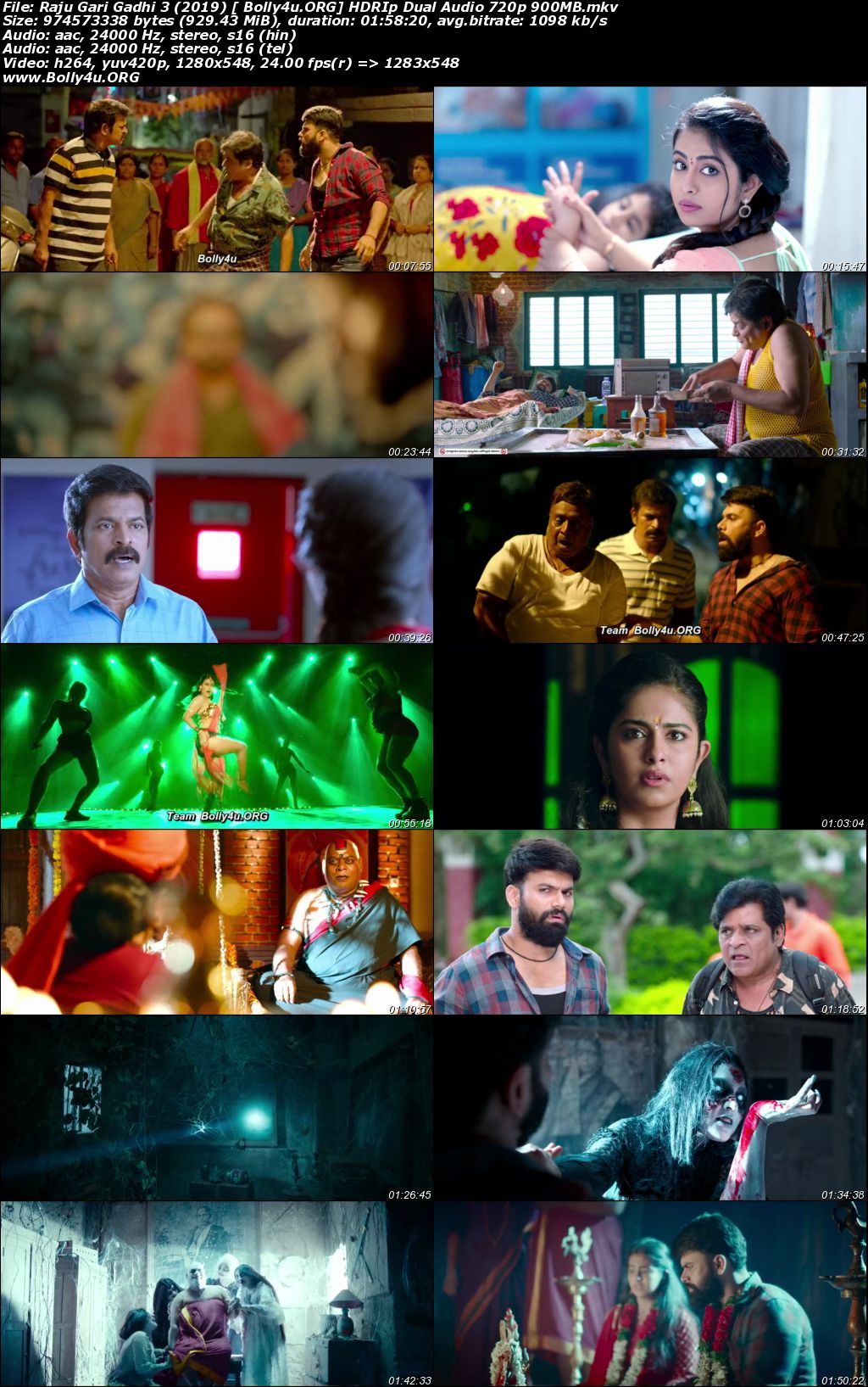 Raju Gari Gadhi 3 2019 HDRip 900Mb UNCUT Hindi Dual Audio 720p Download