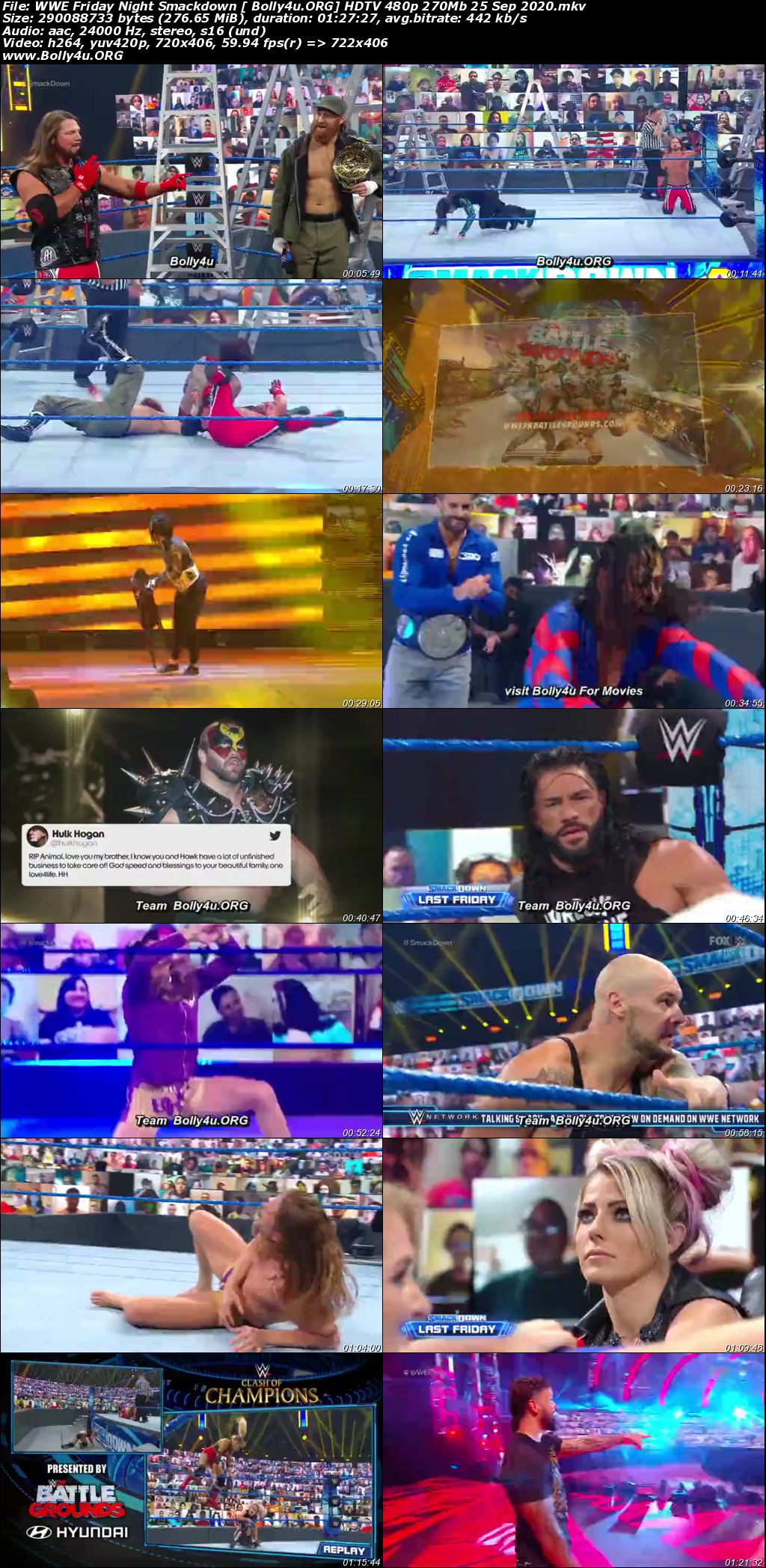 WWE Friday Night Smackdown HDTV 480p 270Mb 25 Sep 2020 Download