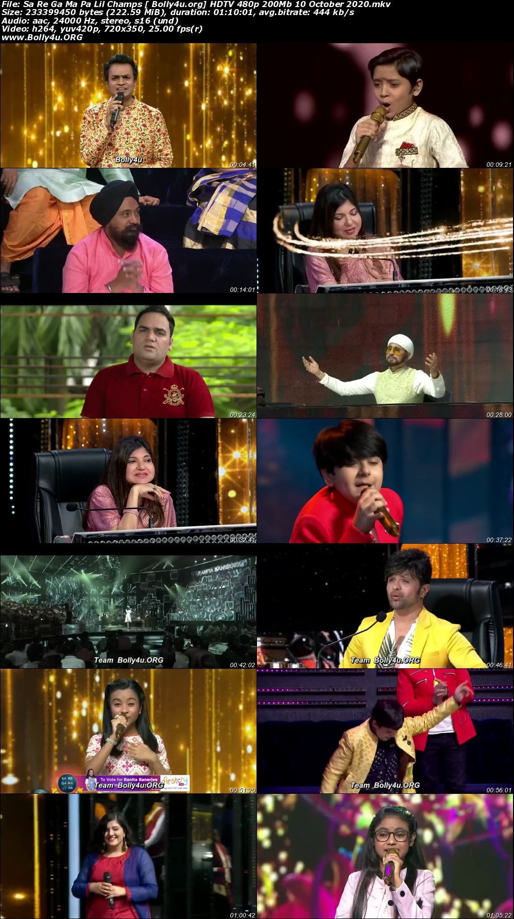 Sa Re Ga Ma Pa Lil Champs HDTV 480p 200Mb 10 October 2020 Download