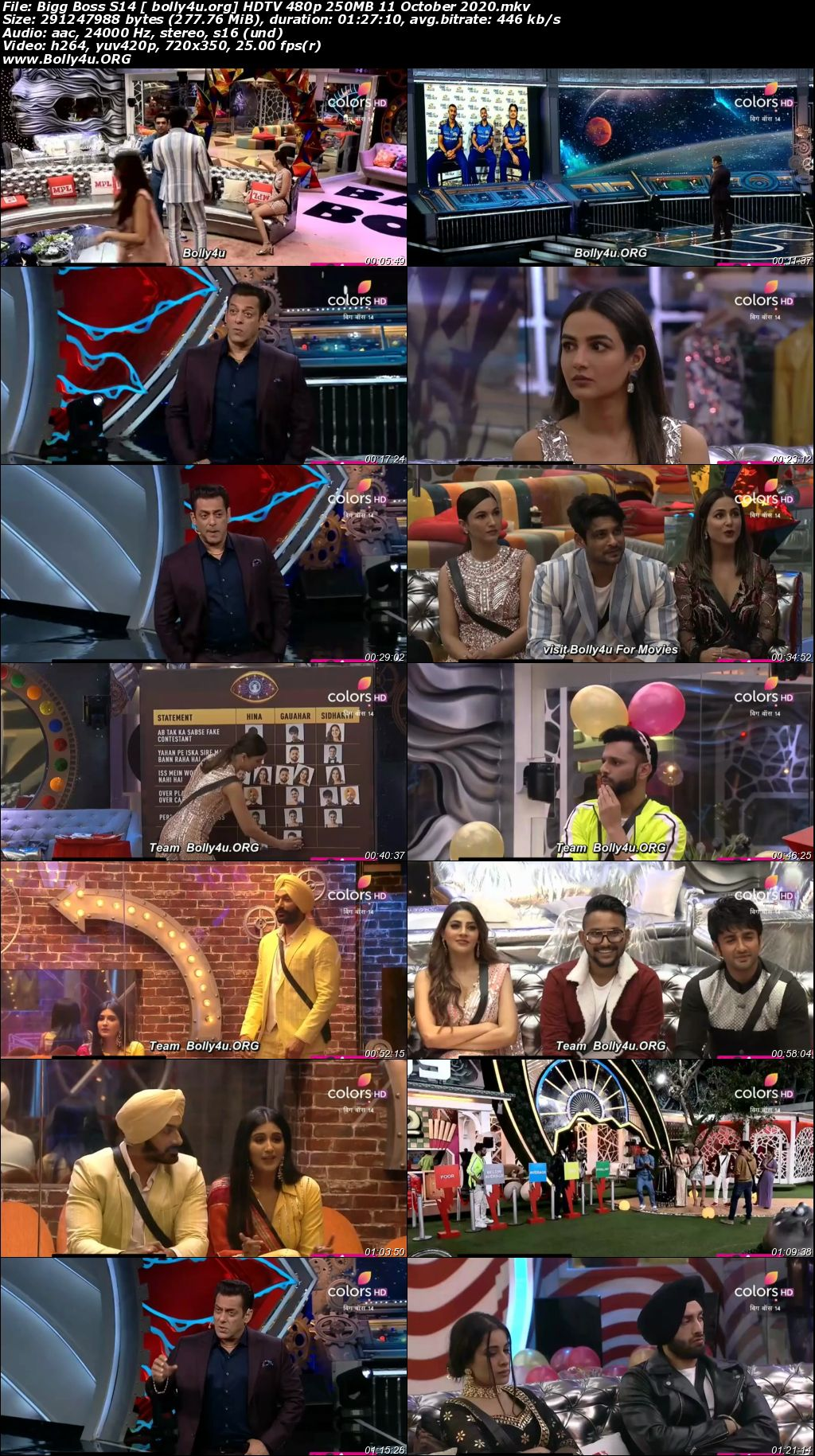 Bigg Boss S14 HDTV 480p 250MB 11 October 2020 Download