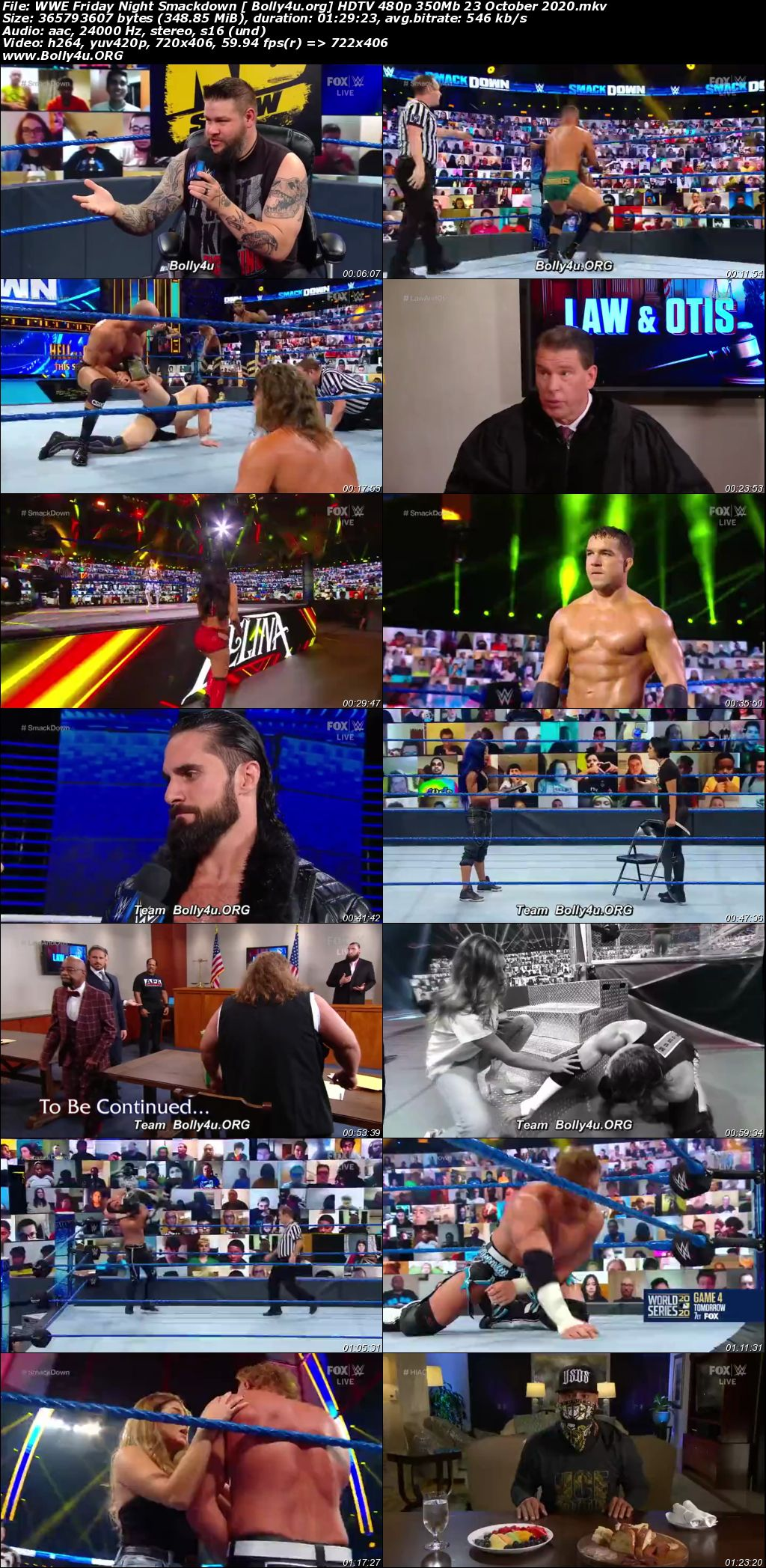 WWE Friday Night Smackdown HDTV 480p 350Mb 23 October 2020 Download
