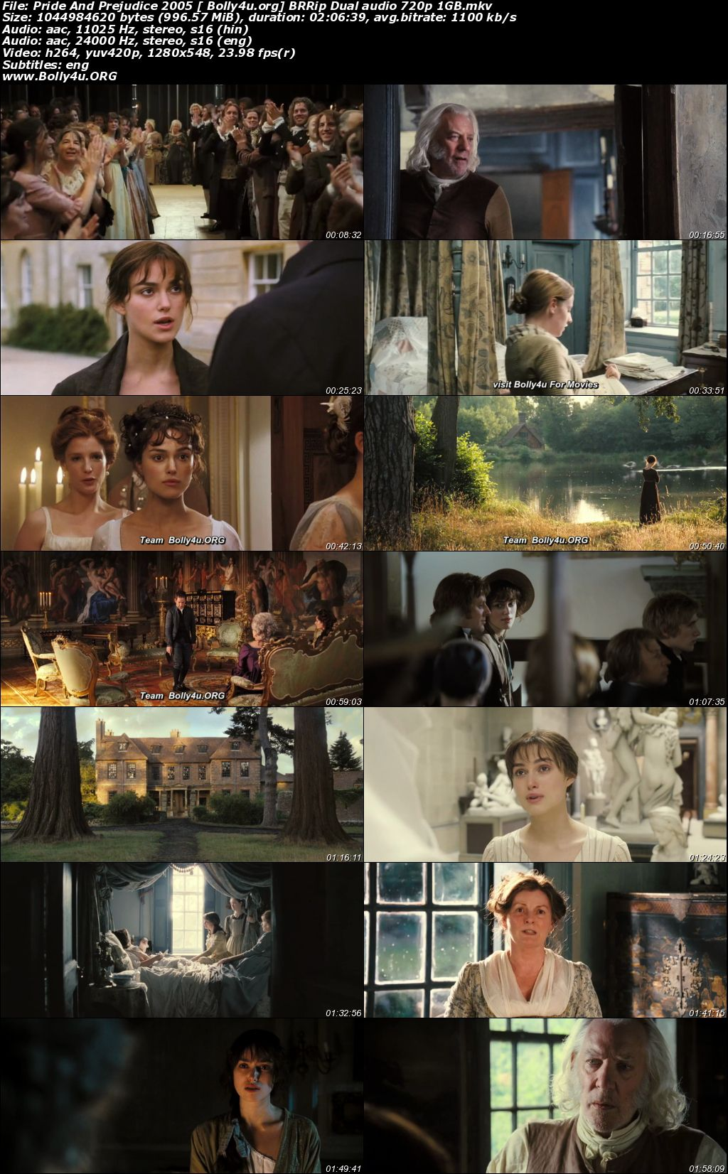 Pride And Prejudice 2005 BRRip 400MB Hindi Dual Audio 480p Download