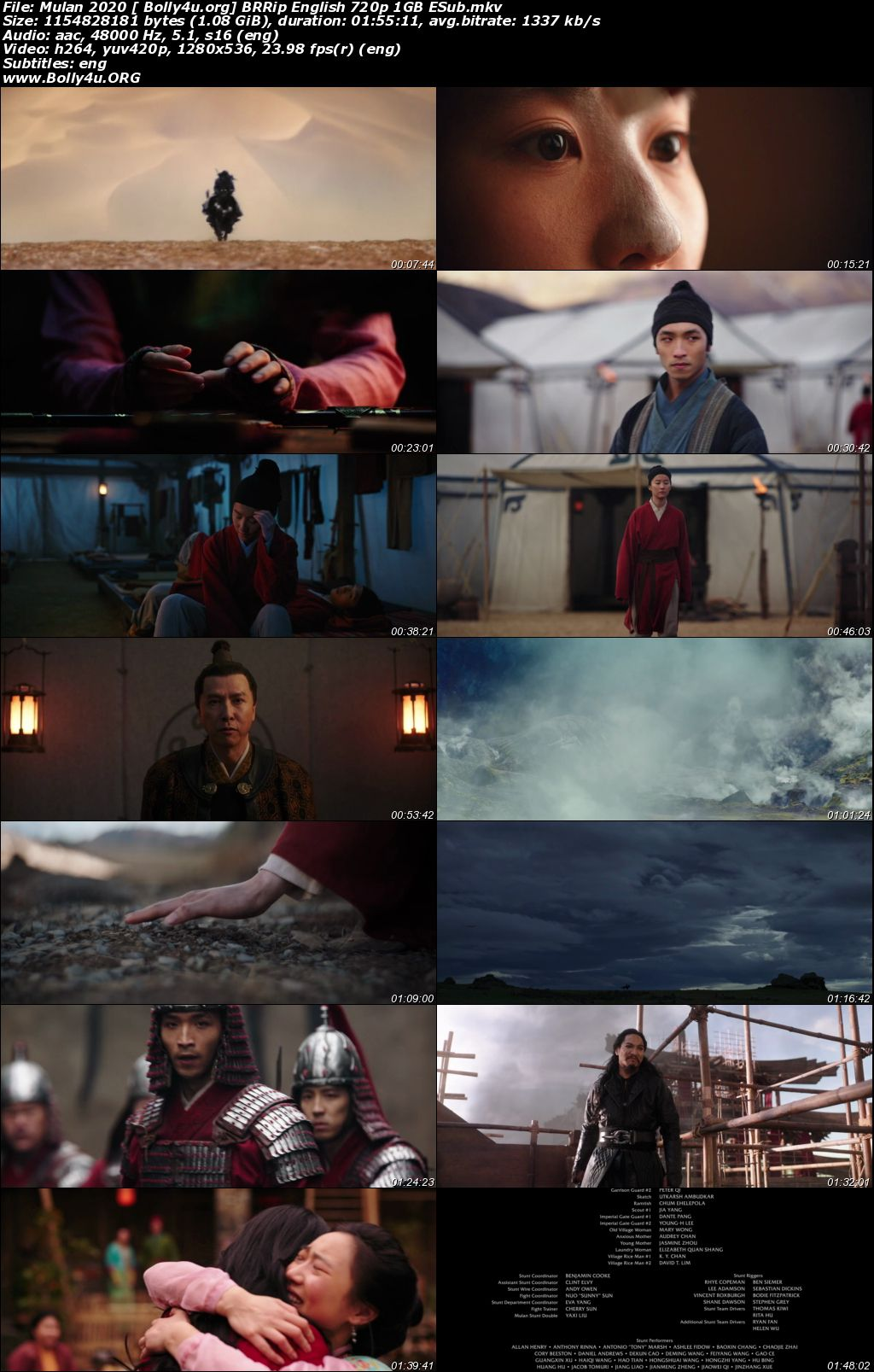 Mulan 2020 BRRip 1Gb English 720p ESub Download