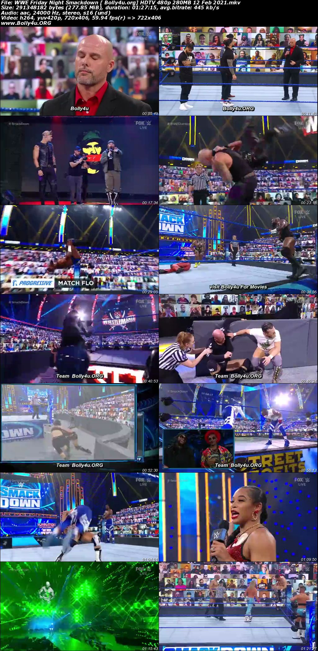 WWE Friday Night Smackdown HDTV 480p 280MB 12 Feb 2021 Download