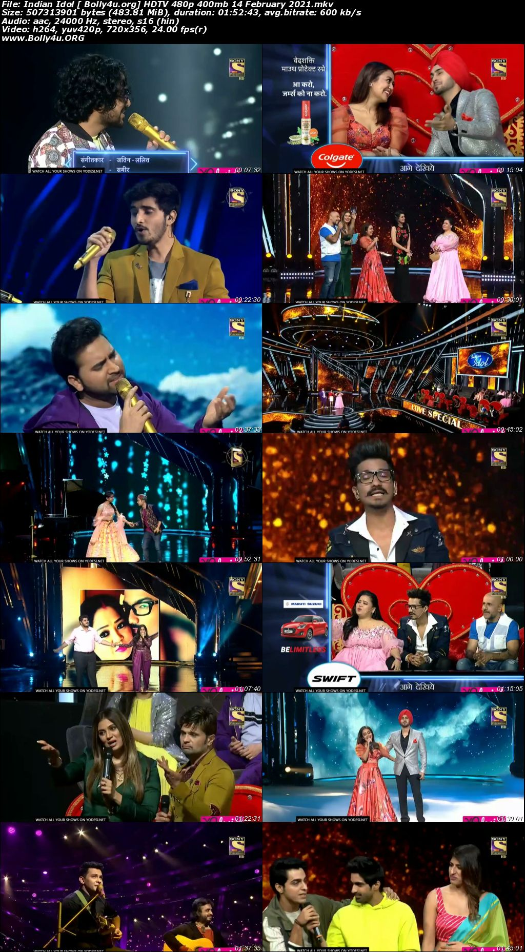 Indian Idol 2021 HDTV 480p 400mb 14 February 2021 Download