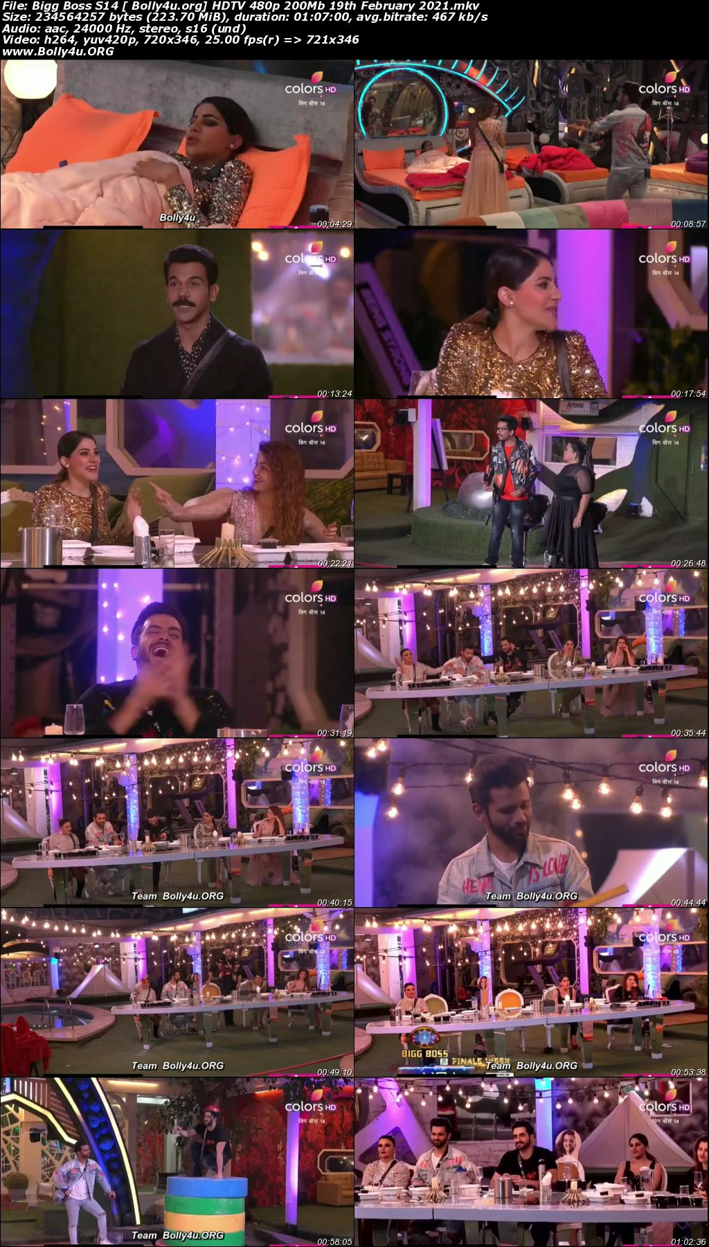 Bigg Boss S14 HDTV 480p 200Mb 19 February 2021 Download