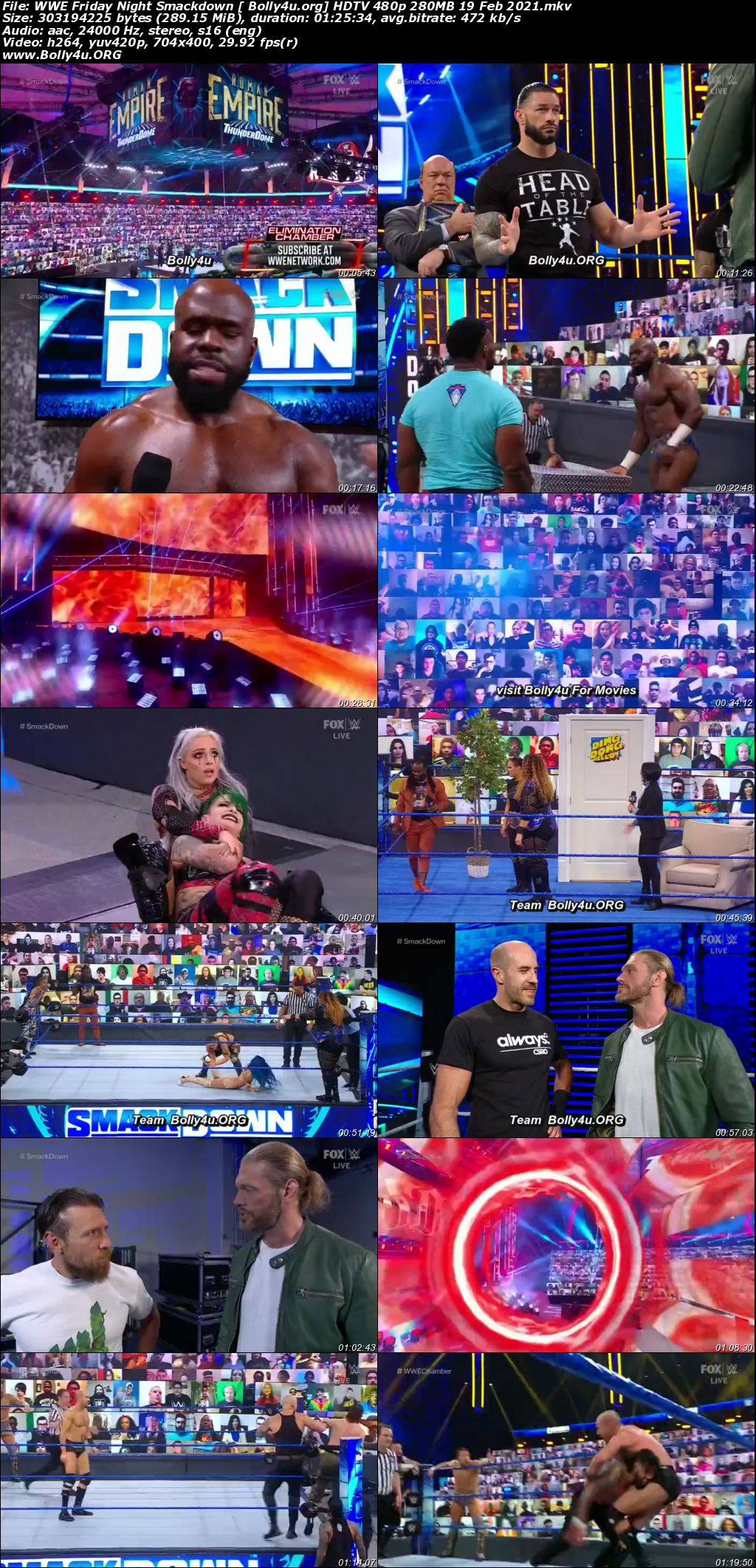 WWE Friday Night Smackdown HDTV 480p 280MB 19 Feb 2021 Download