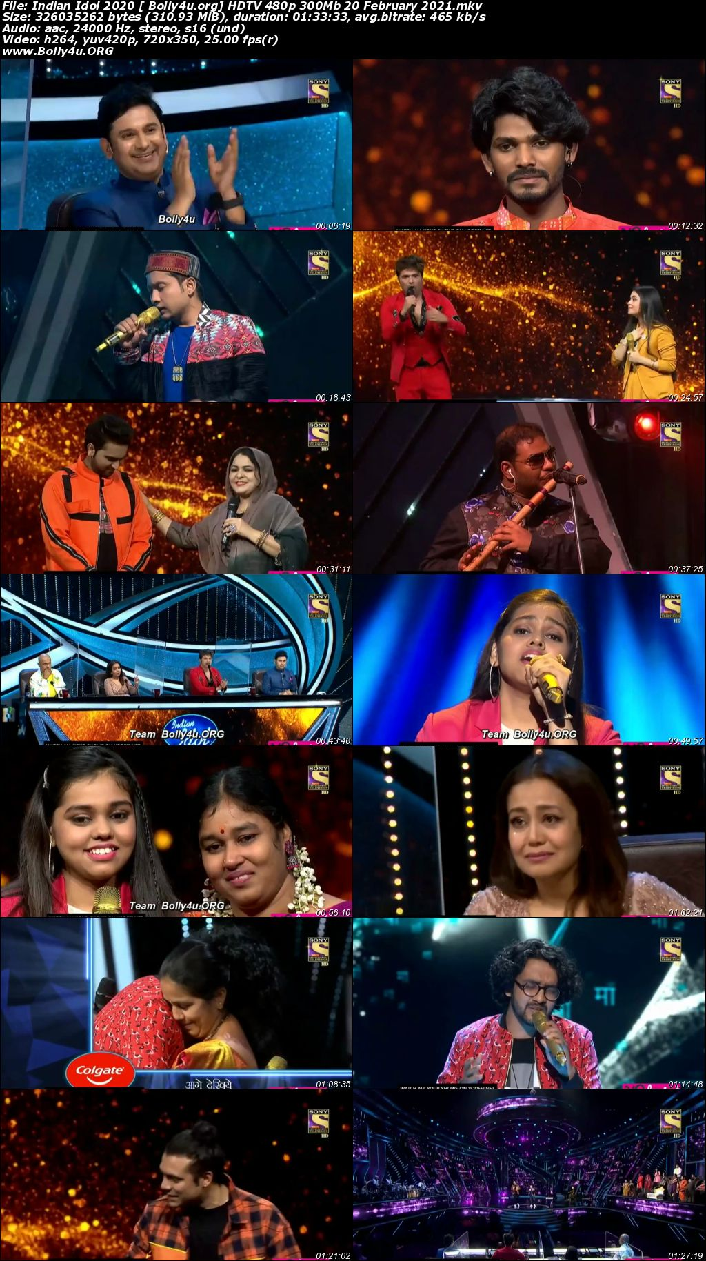 Indian Idol 2021 HDTV 480p 300Mb 20 February 2021 Download