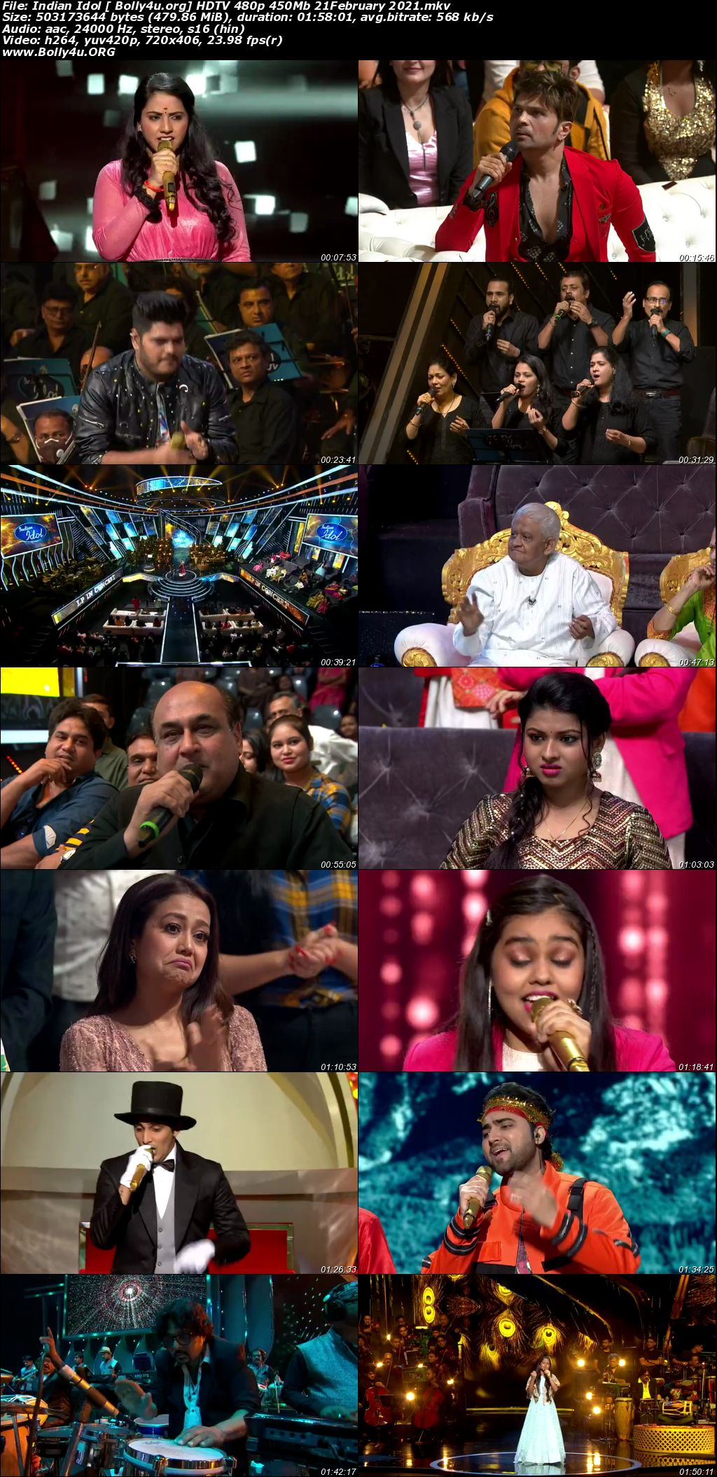Indian Idol 2021 HDTV 480p 450Mb 21 February 2021 Download