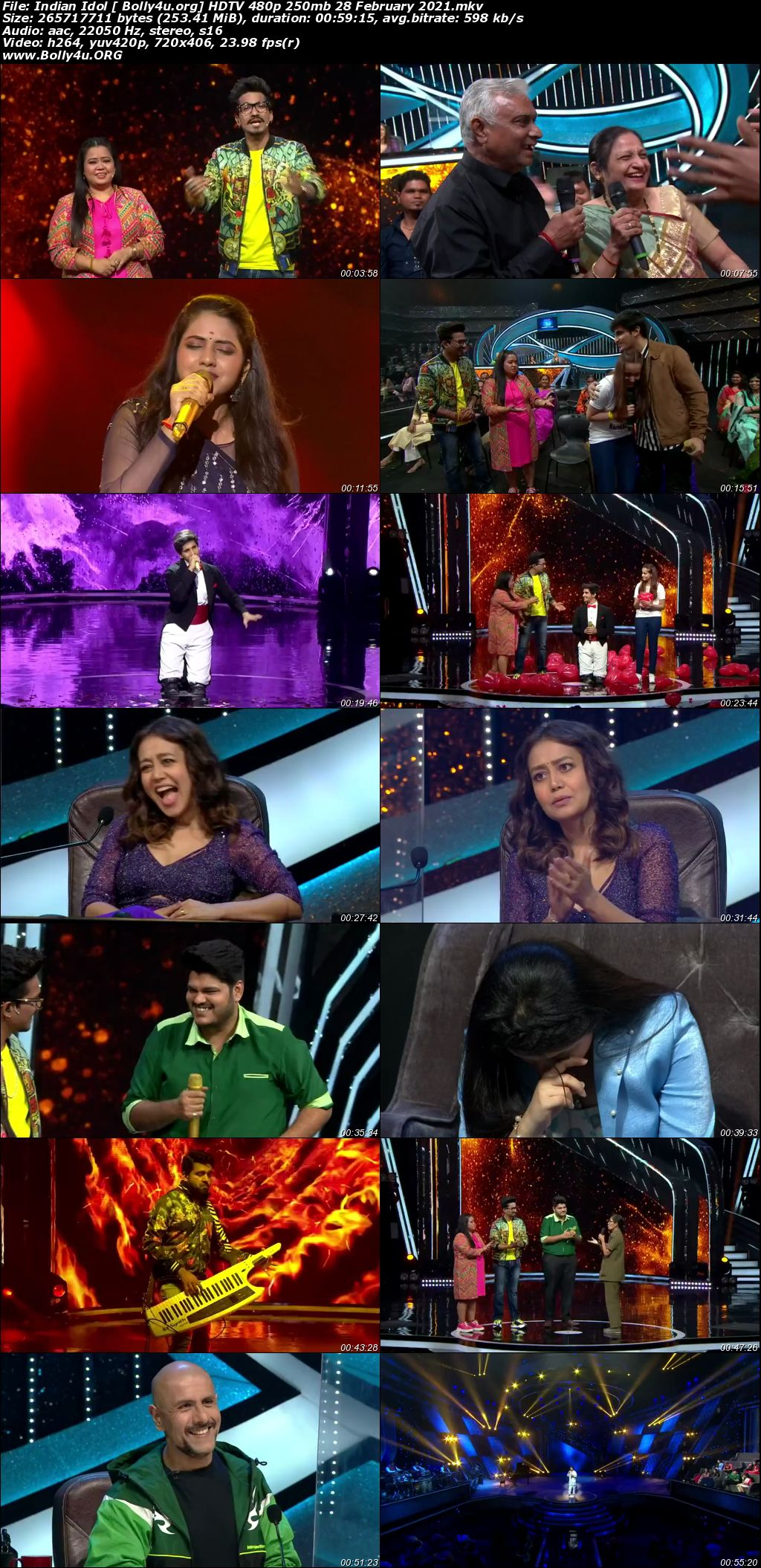 Indian Idol 2021 HDTV 480p 250mb 28 February 2021 Download