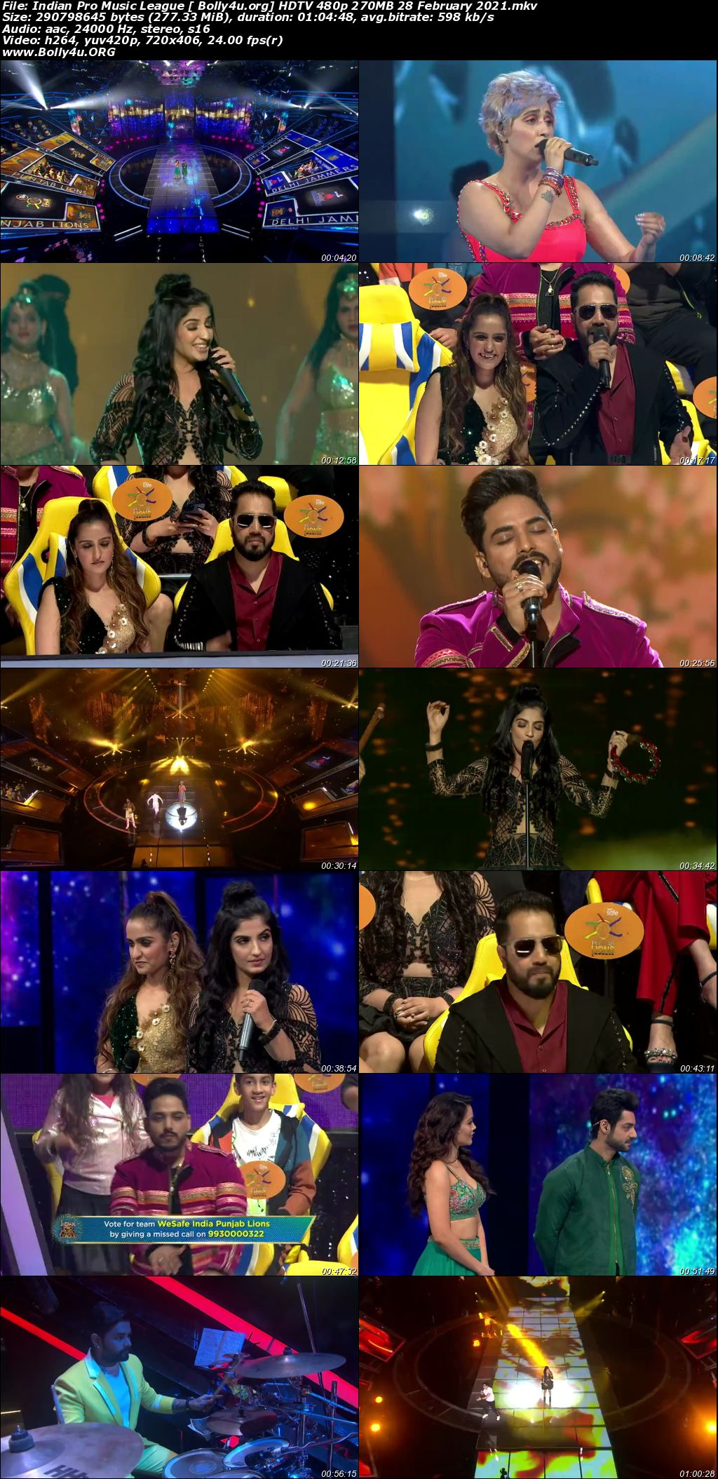 Indian Pro Music League HDTV 480p 270MB 28 February 2021 Download