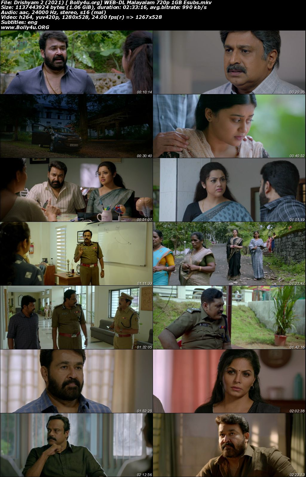 Drishyam 2 2021 WEB-DL 1GB Malayalam 720p ESubs Download