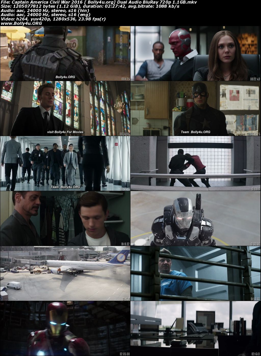 Captain America Civil War 2016 BRRip 450MB Hindi Dual Audio 480p Download