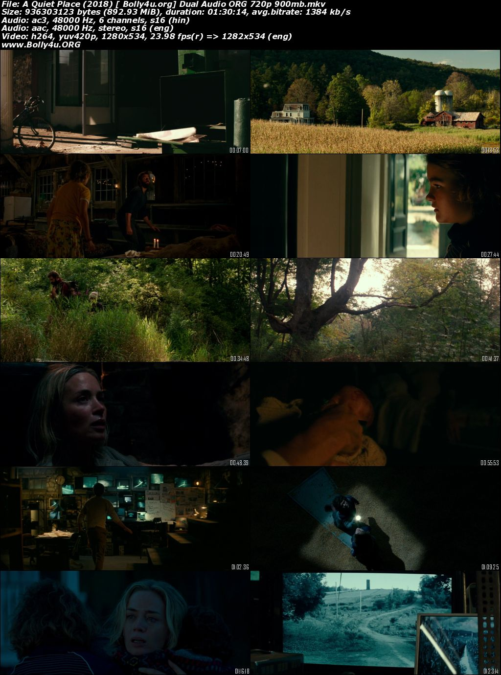 A Quiet Place 2018 BluRay 900MB Hindi Dubbed Dual Audio ORG 720p Download