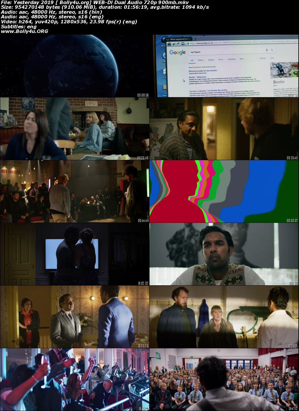 Yesterday 2019 WEB-DL 900Mb Hindi Dual Audio 720p Download