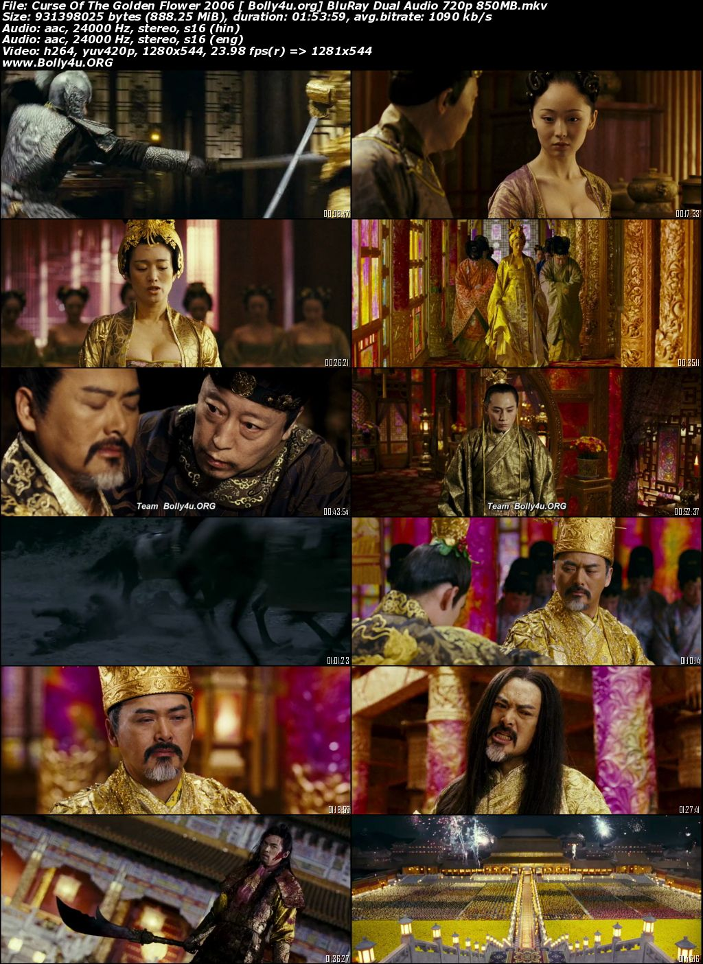 Curse of the Golden Flower 2006 BRRip 850MB Hindi Dual Audio 720p Download