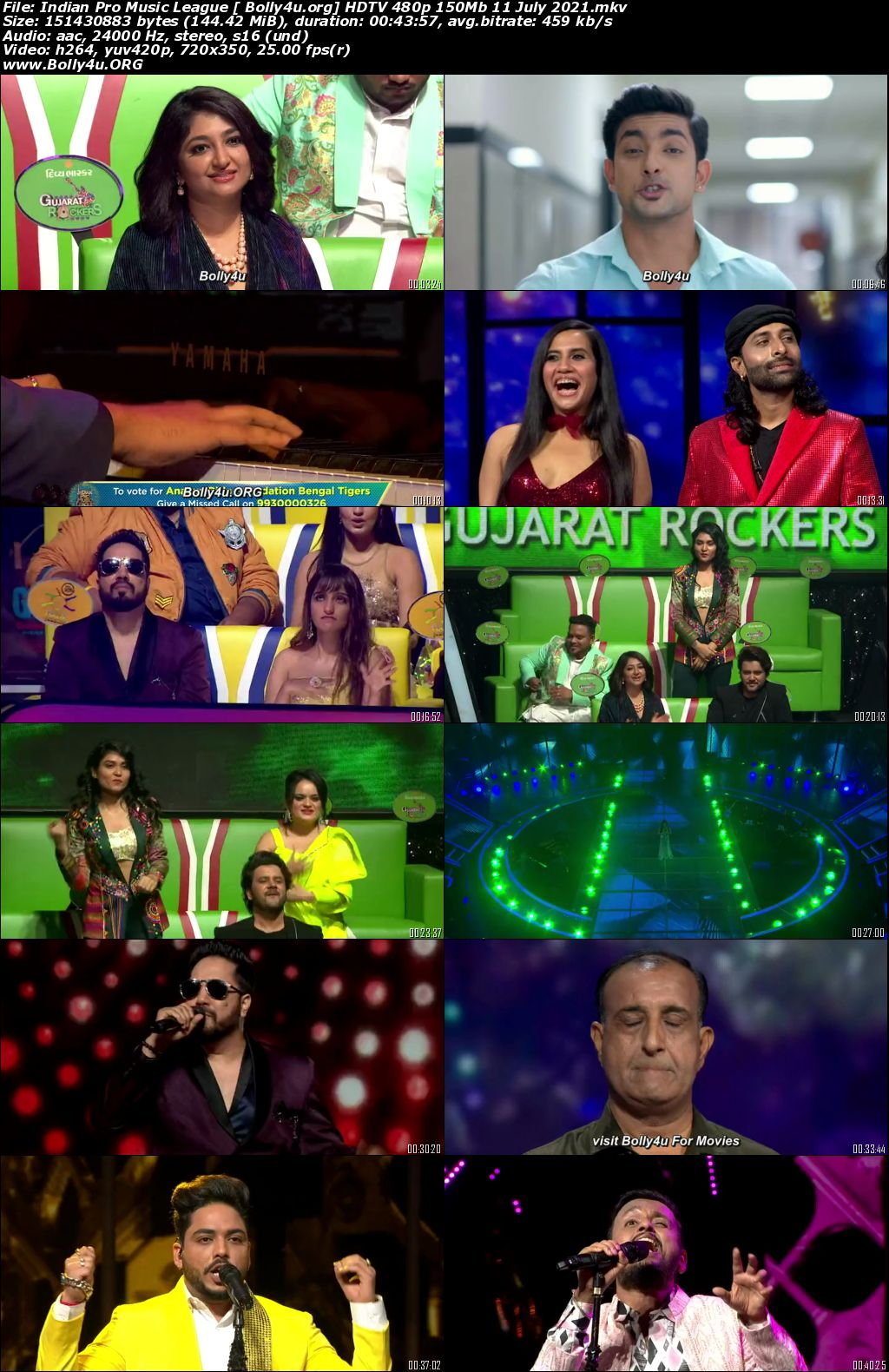 Indian Pro Music League HDTV 480p 150Mb 11 July 2021 Download