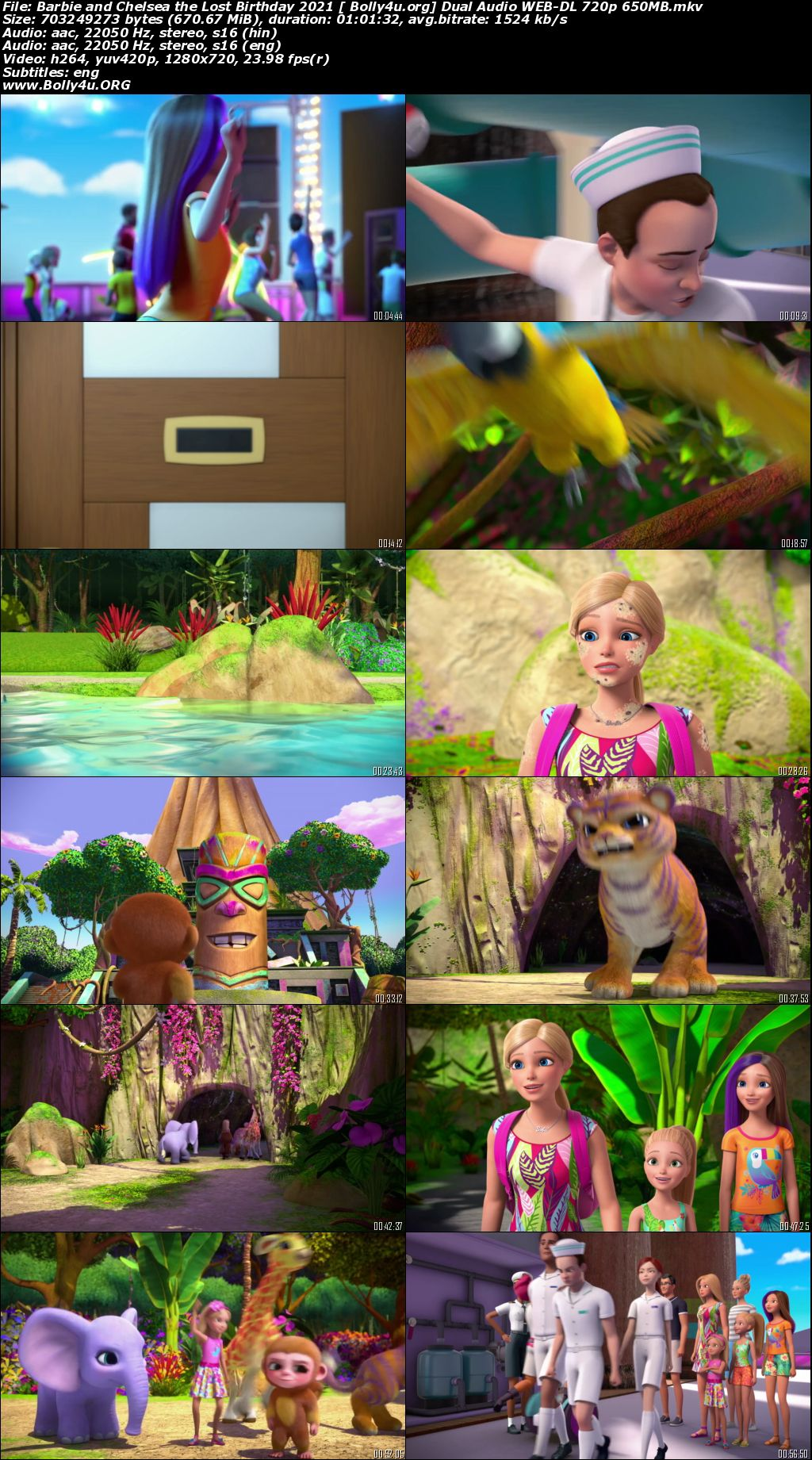 Barbie and Chelsea the Lost Birthday 2021 WEB-DL 650MB Hindi Dual Audio 720p Download