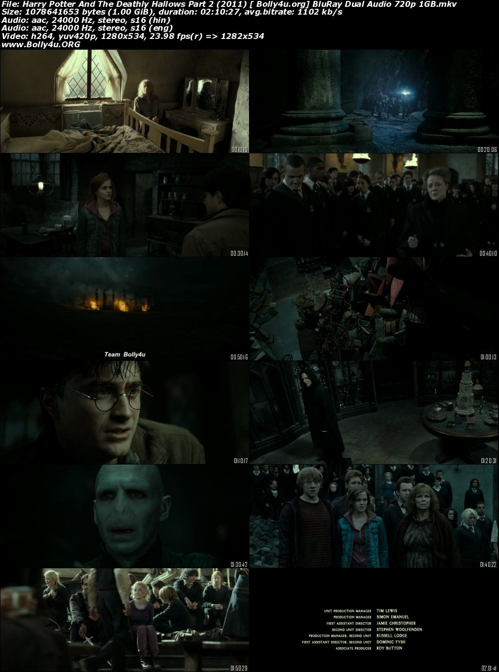 Harry Potter And The Deathly Hallows Part 2 2011 BRRip 400Mb Hindi Dual Audio 480p Download