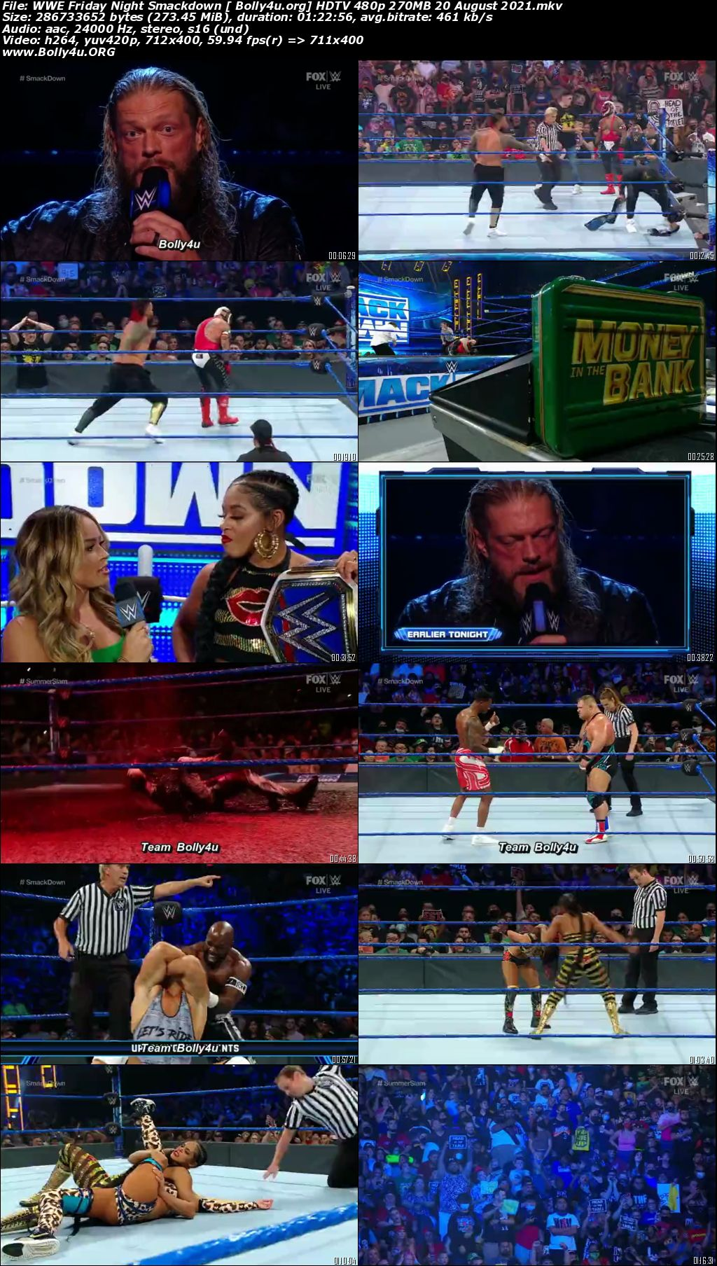 WWE Friday Night Smackdown HDTV 480p 270MB 20 August 2021 Download